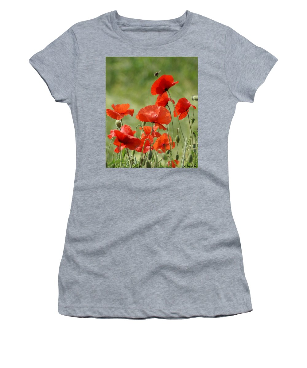 Poppies Women's T-Shirt featuring the photograph Poppies 1 by Carol Lynch