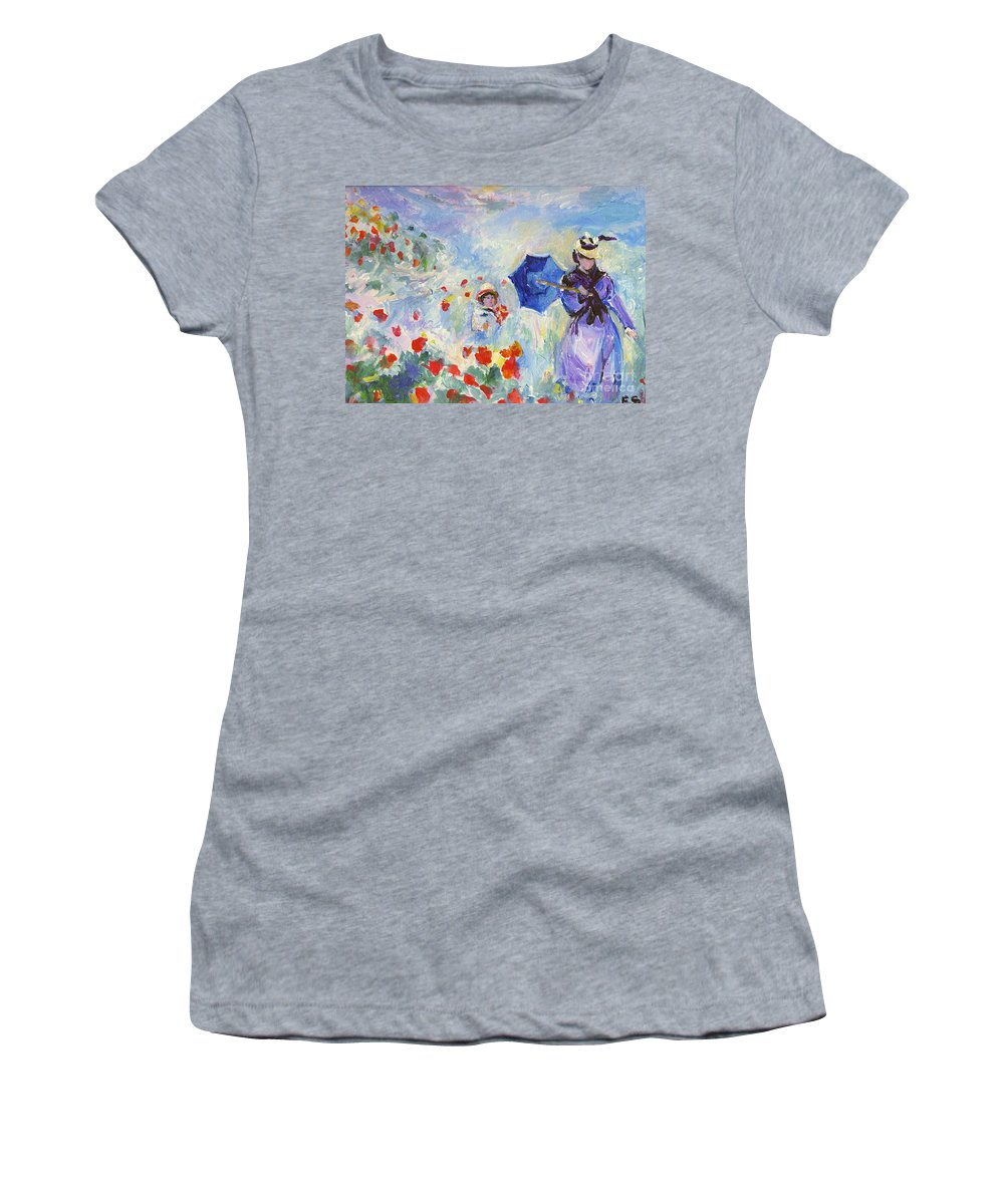 Monet Women's T-Shirt featuring the painting Poppies At Argenteuil Claude Monet by Eric Schiabor