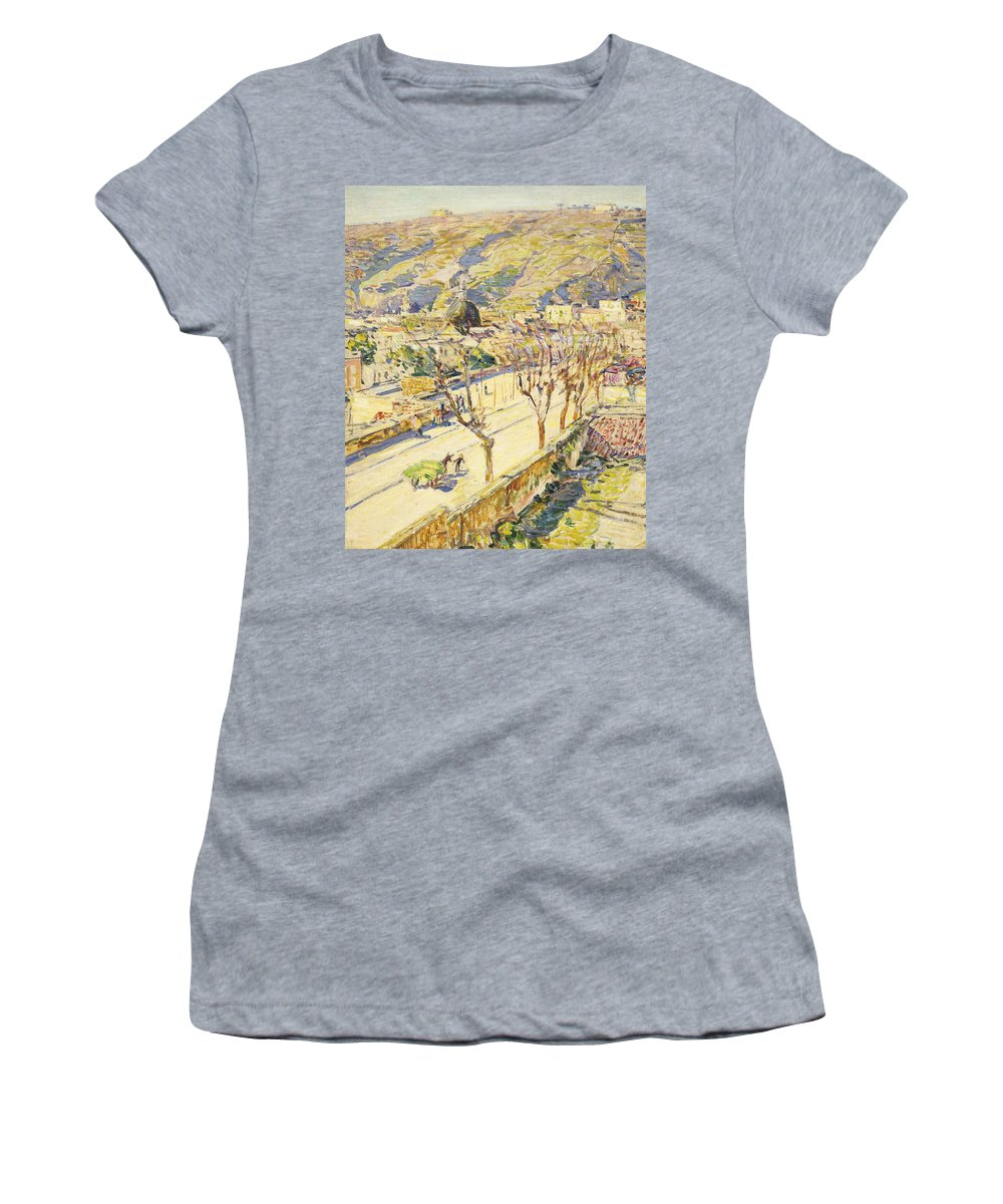 Agricultural; Peasant Women's T-Shirt featuring the painting Posillipo by Childe Hassam