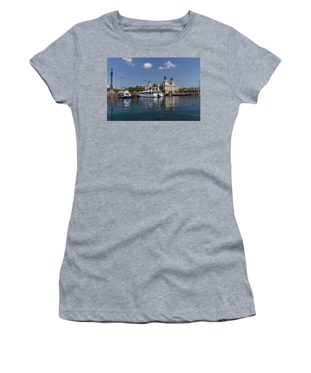 Barcelona Women's T-Shirt featuring the photograph Postcard From Barcelona by Georgia Mizuleva