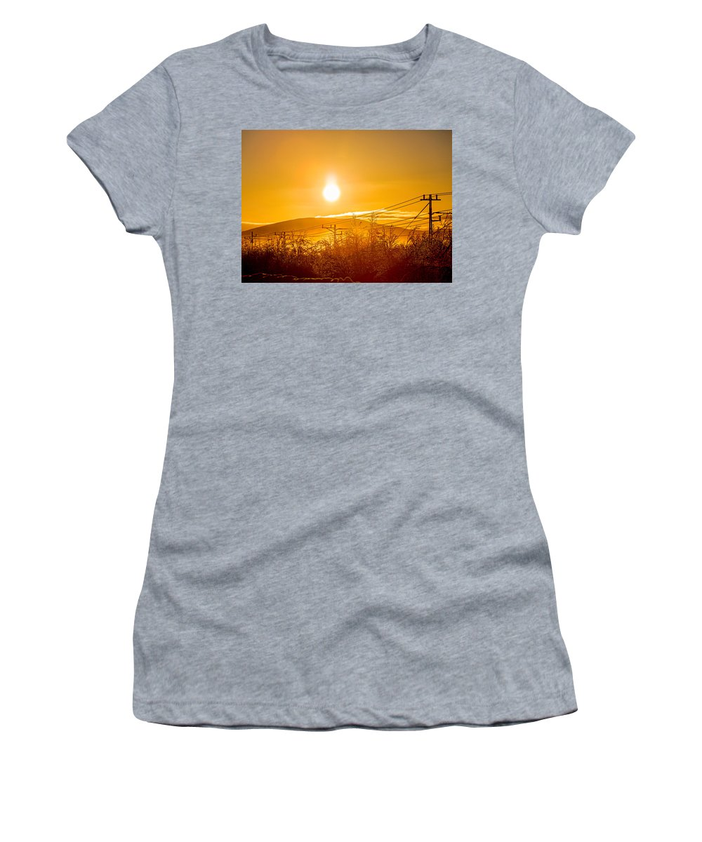 Photography Women's T-Shirt featuring the photograph Power Lines And Trees In The Frozen by Panoramic Images