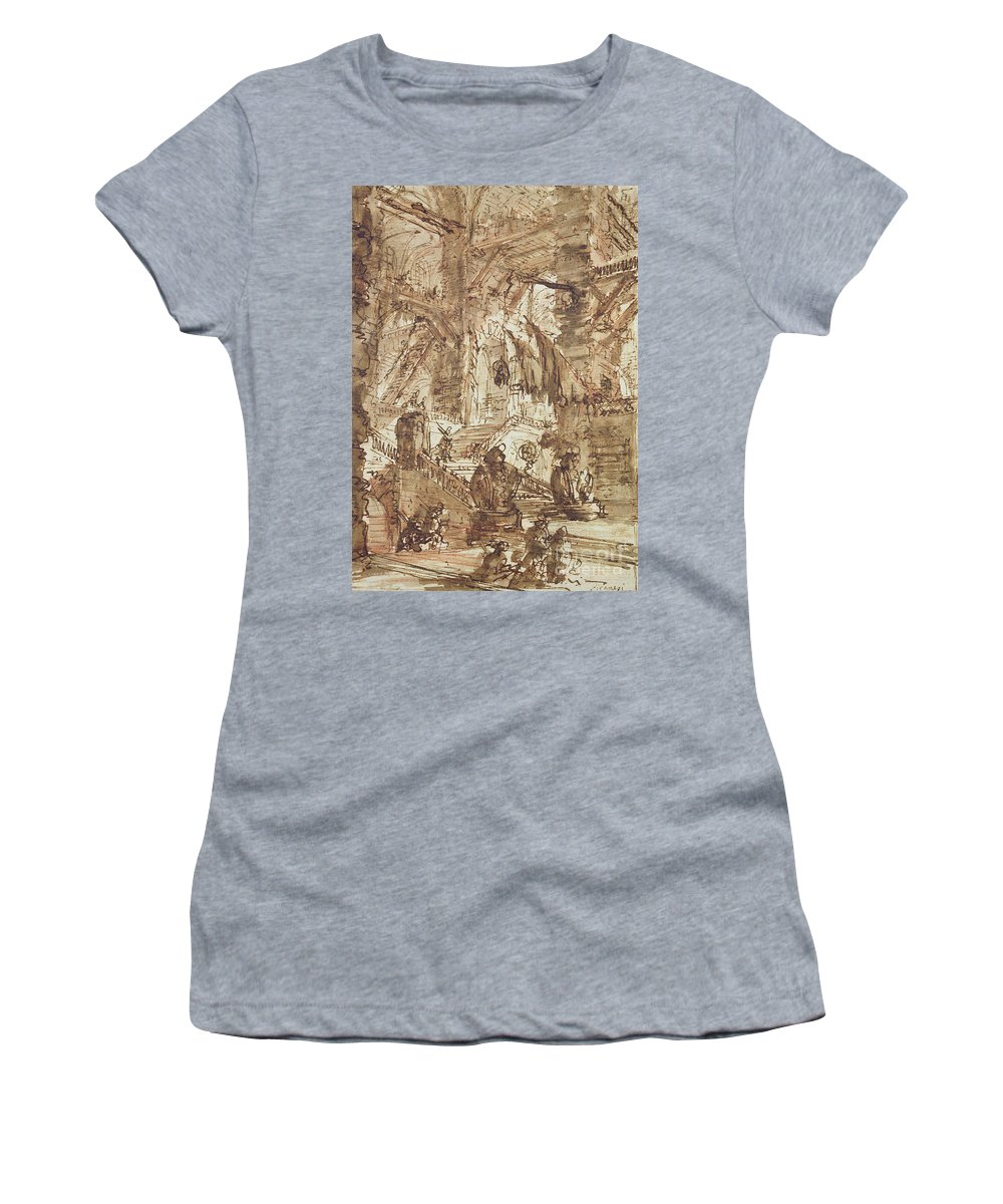 Prison; Gaol; Jail; Incarceration; Dungeon; Imaginary; Fantastic Women's T-Shirt (Athletic Fit) featuring the drawing Preparatory Drawing For Plate Number Viii Of The Carceri Al'invenzione Series by Giovanni Battista Piranesi
