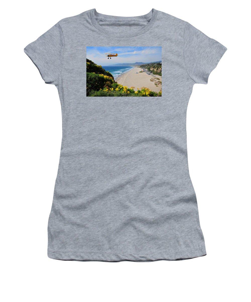 Pt Dume Women's T-Shirt featuring the photograph Pt Dume Biplane by Lynn Bauer