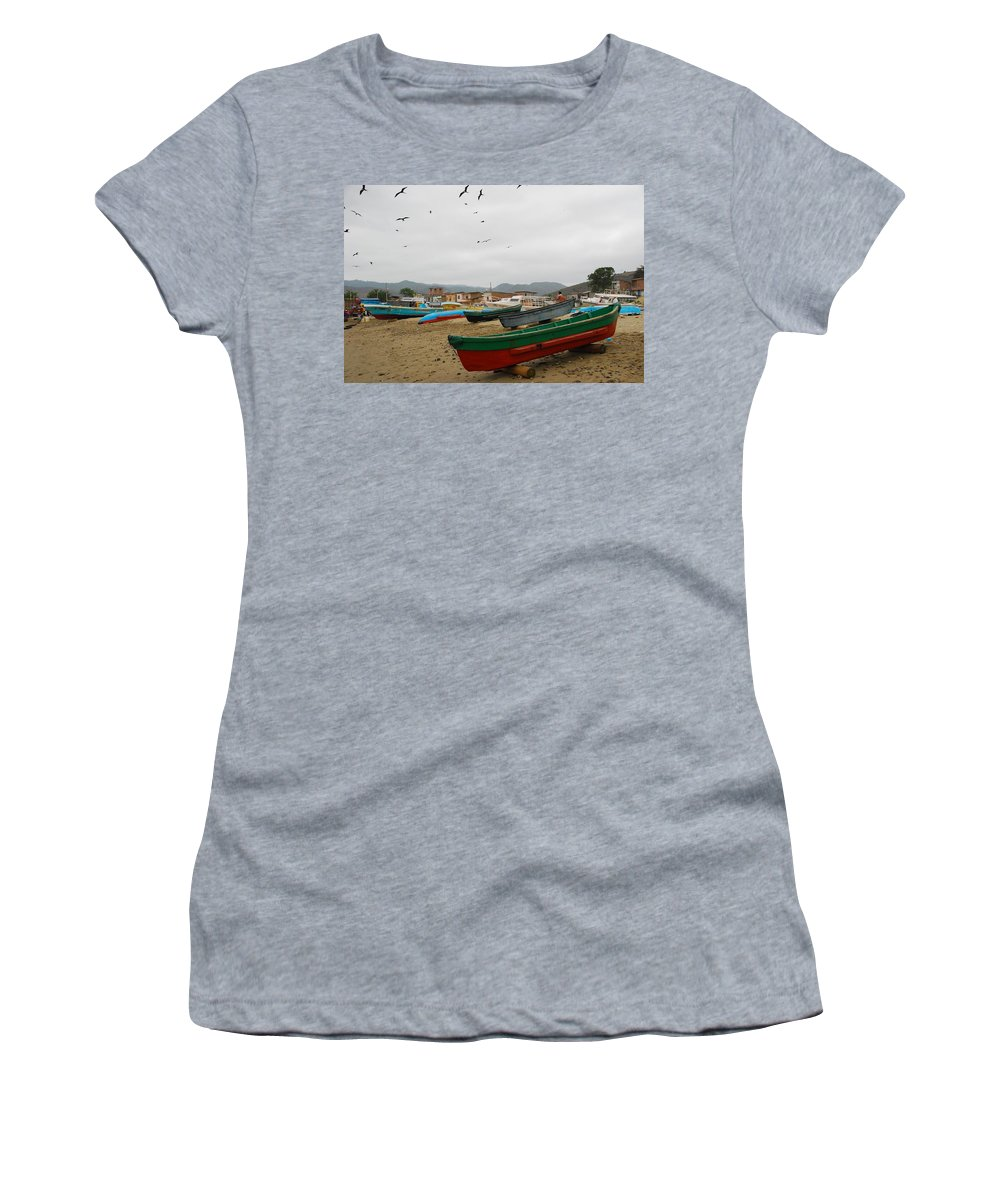 Beach Women's T-Shirt (Athletic Fit) featuring the photograph Puerto Lopez Beach And Boats by Cascade Colors