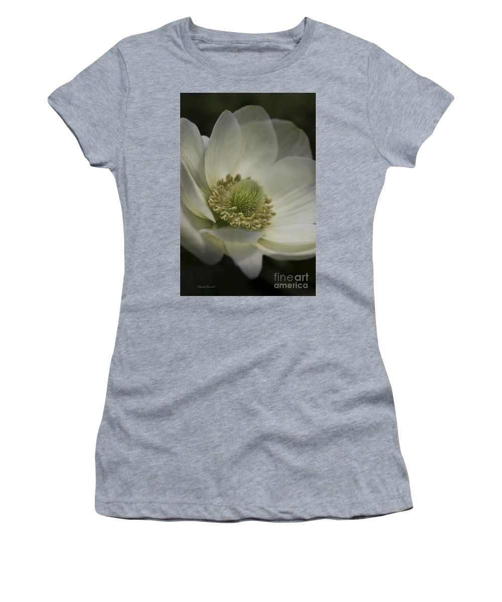 Flower Women's T-Shirt (Athletic Fit) featuring the photograph Pureness In White by Deborah Benoit
