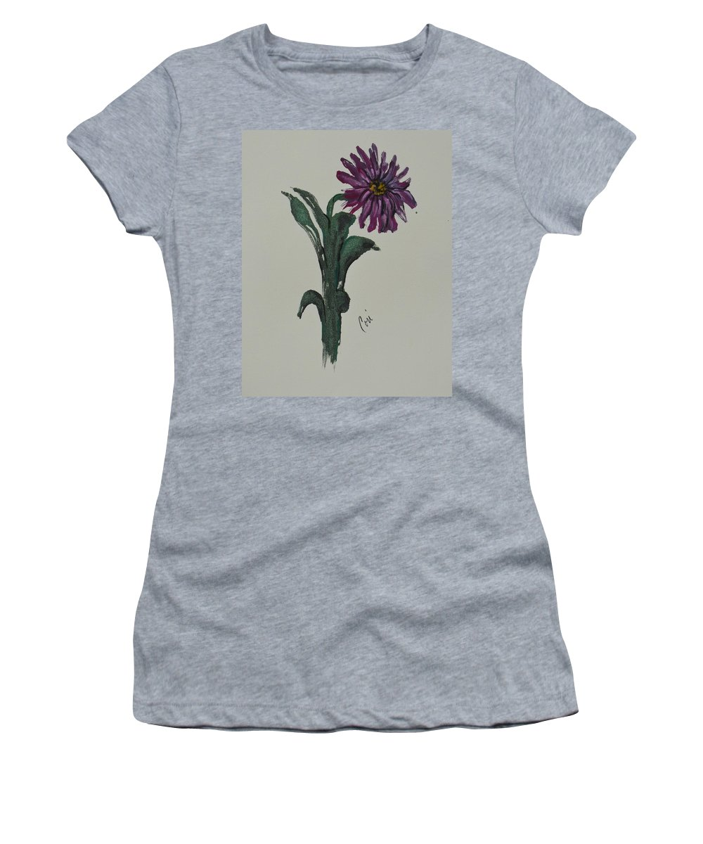 Flower Women's T-Shirt featuring the mixed media Purple Simplicity by Cori Solomon