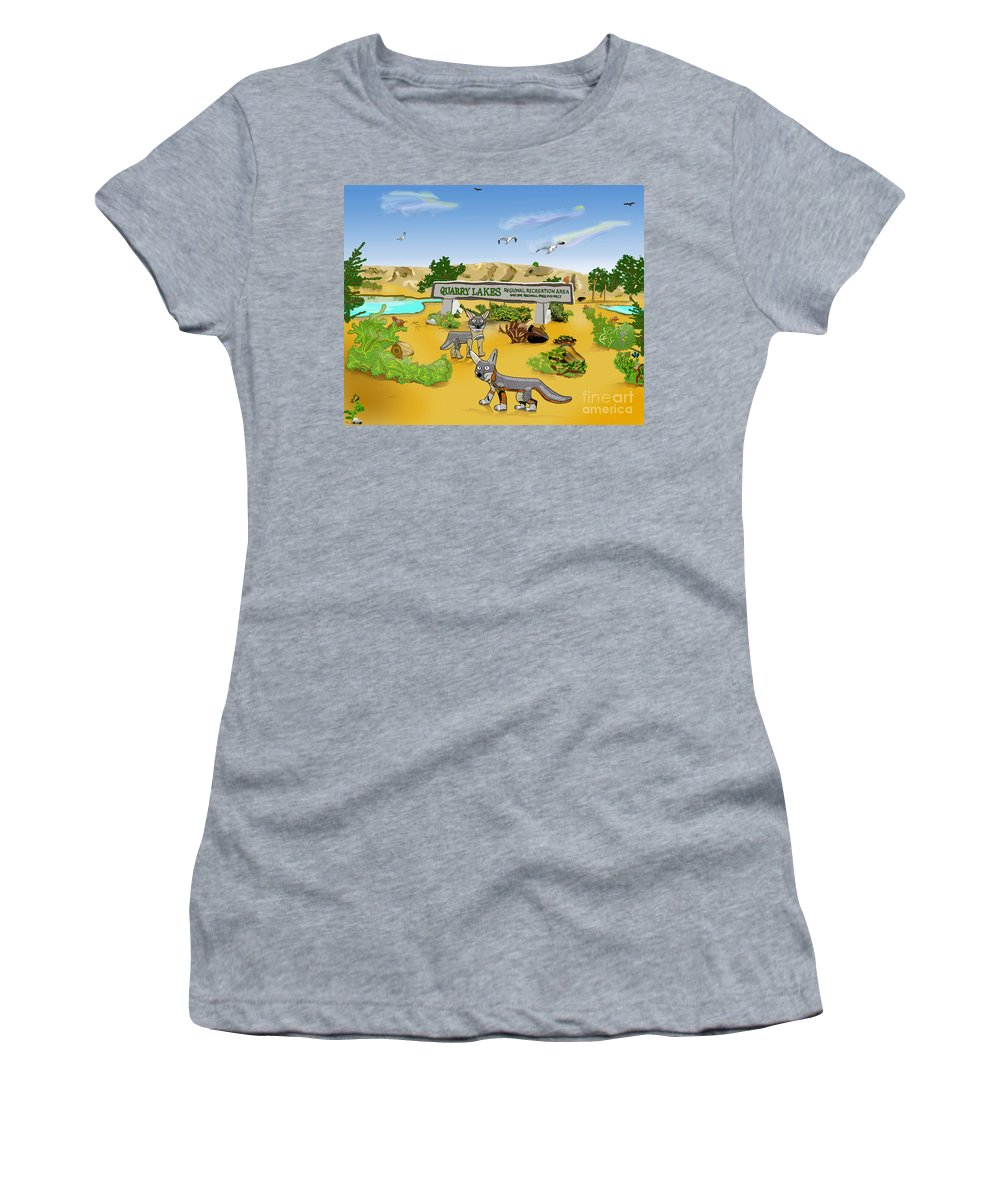 Lakes Women's T-Shirt featuring the mixed media Quarry Lakes And Gray Foxes by Paul Fields