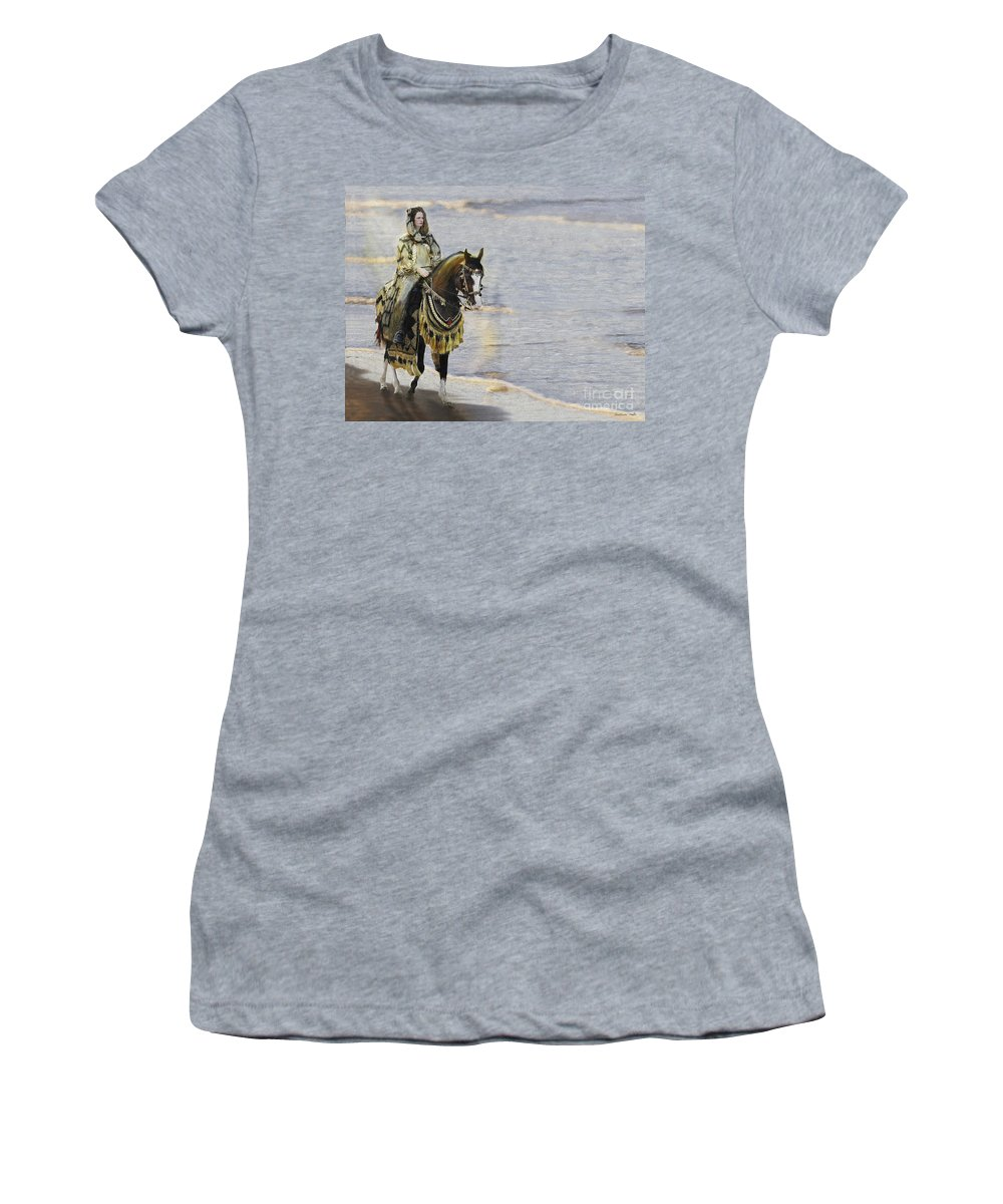 Horse Women's T-Shirt (Athletic Fit) featuring the painting Queens War Horse by Constance Woods
