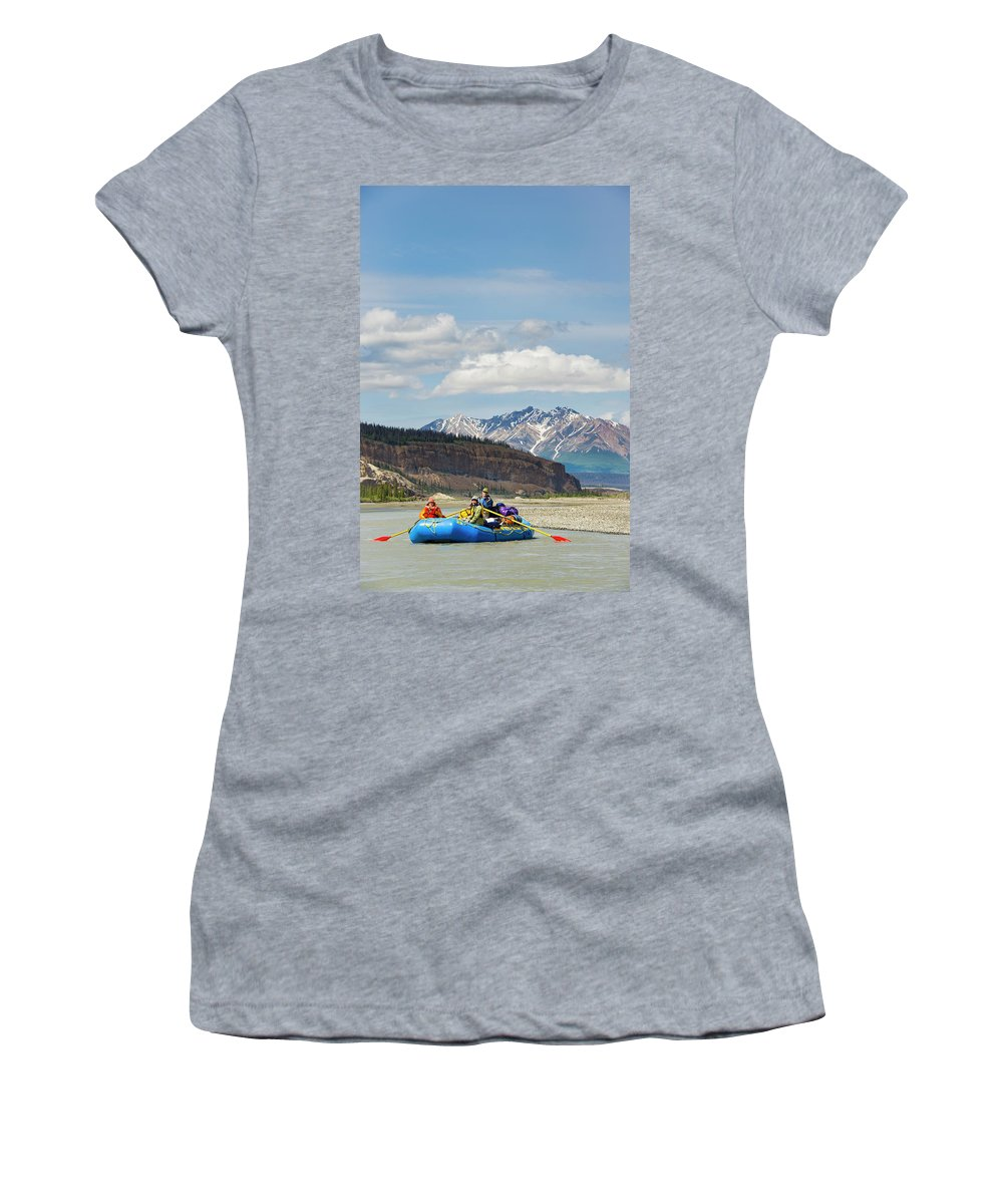 Mountain Range Women's T-Shirt featuring the photograph Rafters On The Alsek River by Josh Miller Photography