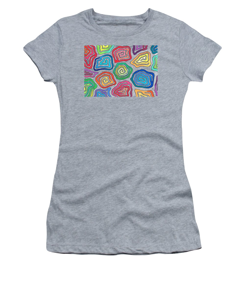 Design Women's T-Shirt (Athletic Fit) featuring the drawing Rainbow Snails by Andreas Berthold