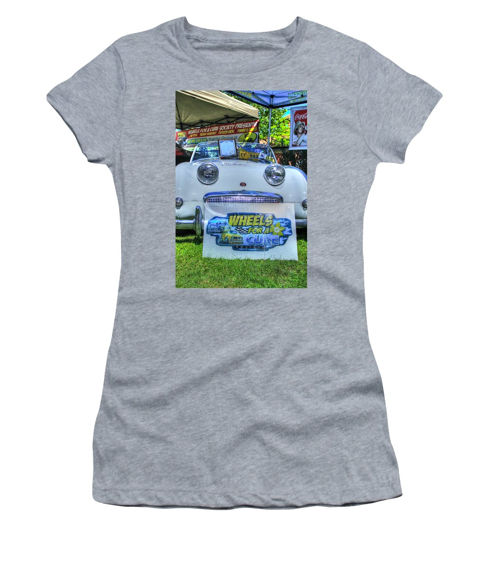 1958 Women's T-Shirt (Athletic Fit) featuring the photograph Rare 1958 White Austin Healey Sprite by Eti Reid