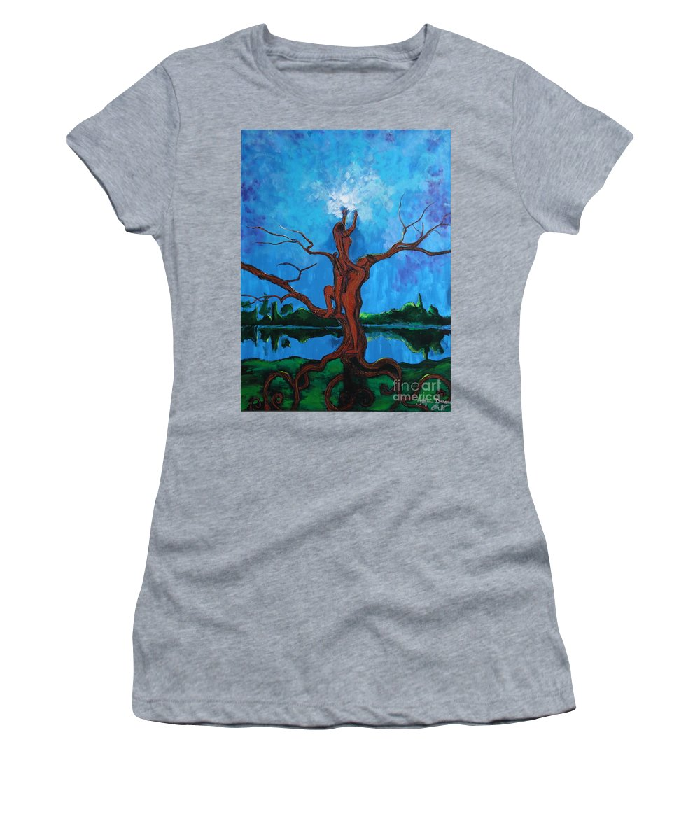 Landscape Women's T-Shirt (Athletic Fit) featuring the painting Reach For The Light My Sister by Stefan Duncan