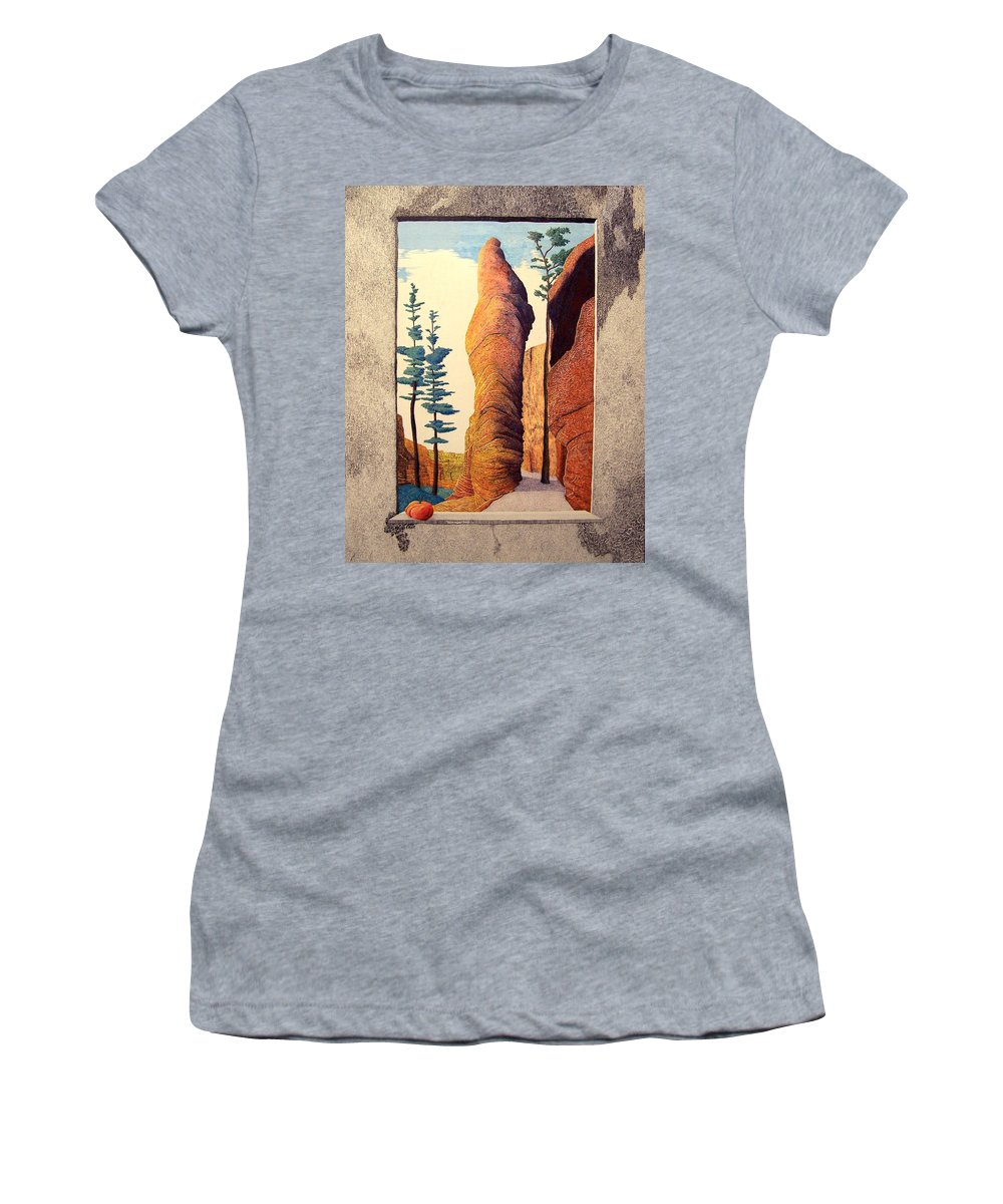 Landscape Women's T-Shirt (Athletic Fit) featuring the painting Reared Window by A Robert Malcom
