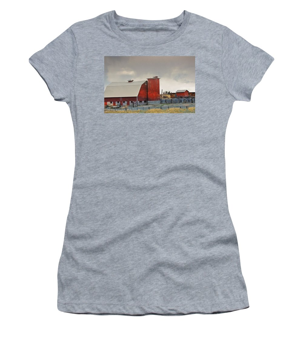 Barn Women's T-Shirt featuring the photograph Red Barn by Image Takers Photography LLC - Laura Morgan and Carol Haddon