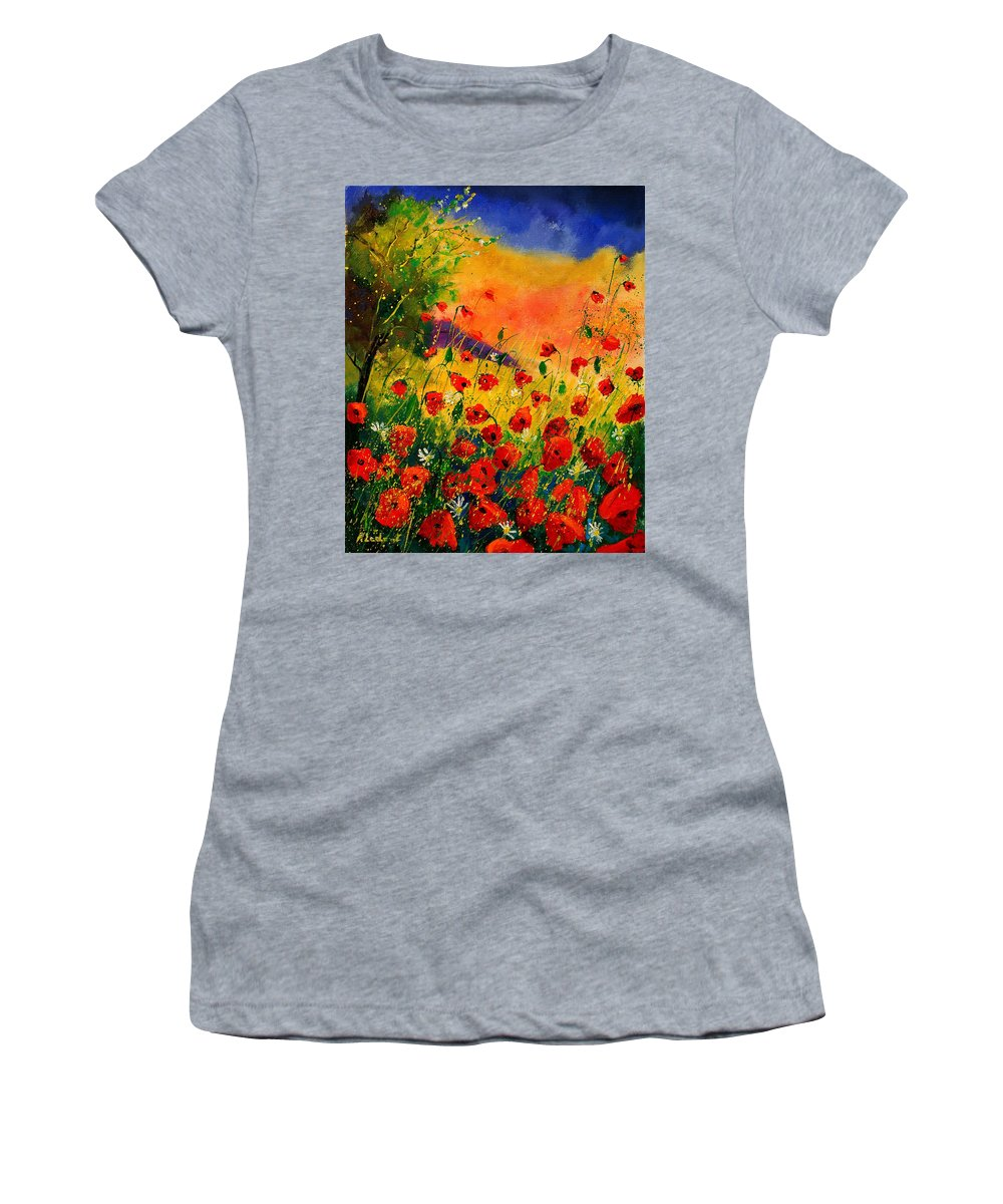 Poppies Women's T-Shirt (Athletic Fit) featuring the painting Red Poppies 45 by Pol Ledent