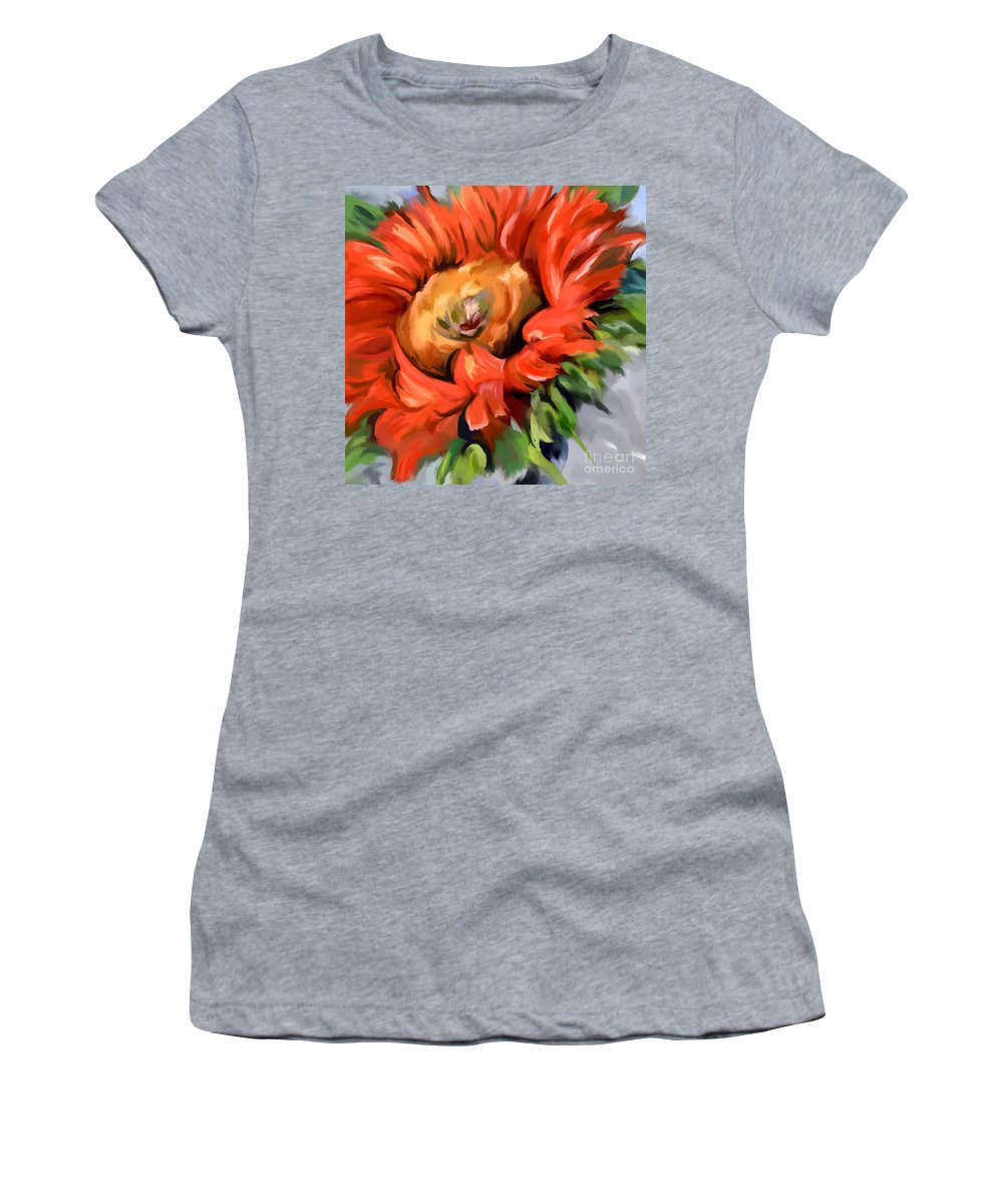 Expressionist Women's T-Shirt (Athletic Fit) featuring the painting Red Sunflower by Tim Gilliland