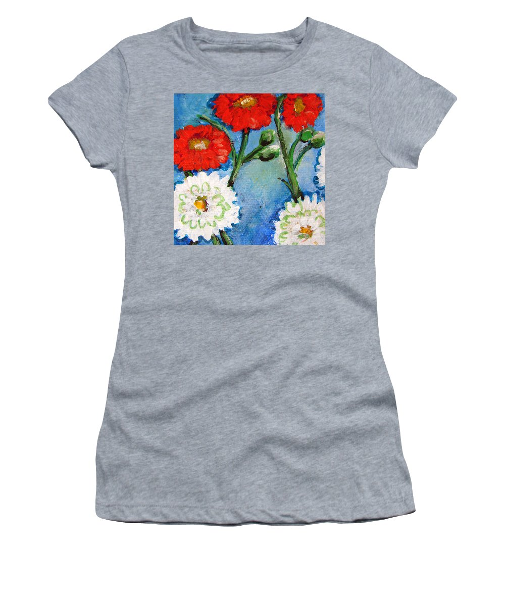 Flowers Women's T-Shirt (Athletic Fit) featuring the painting Red White And Blue Flowers by Ashleigh Dyan Bayer