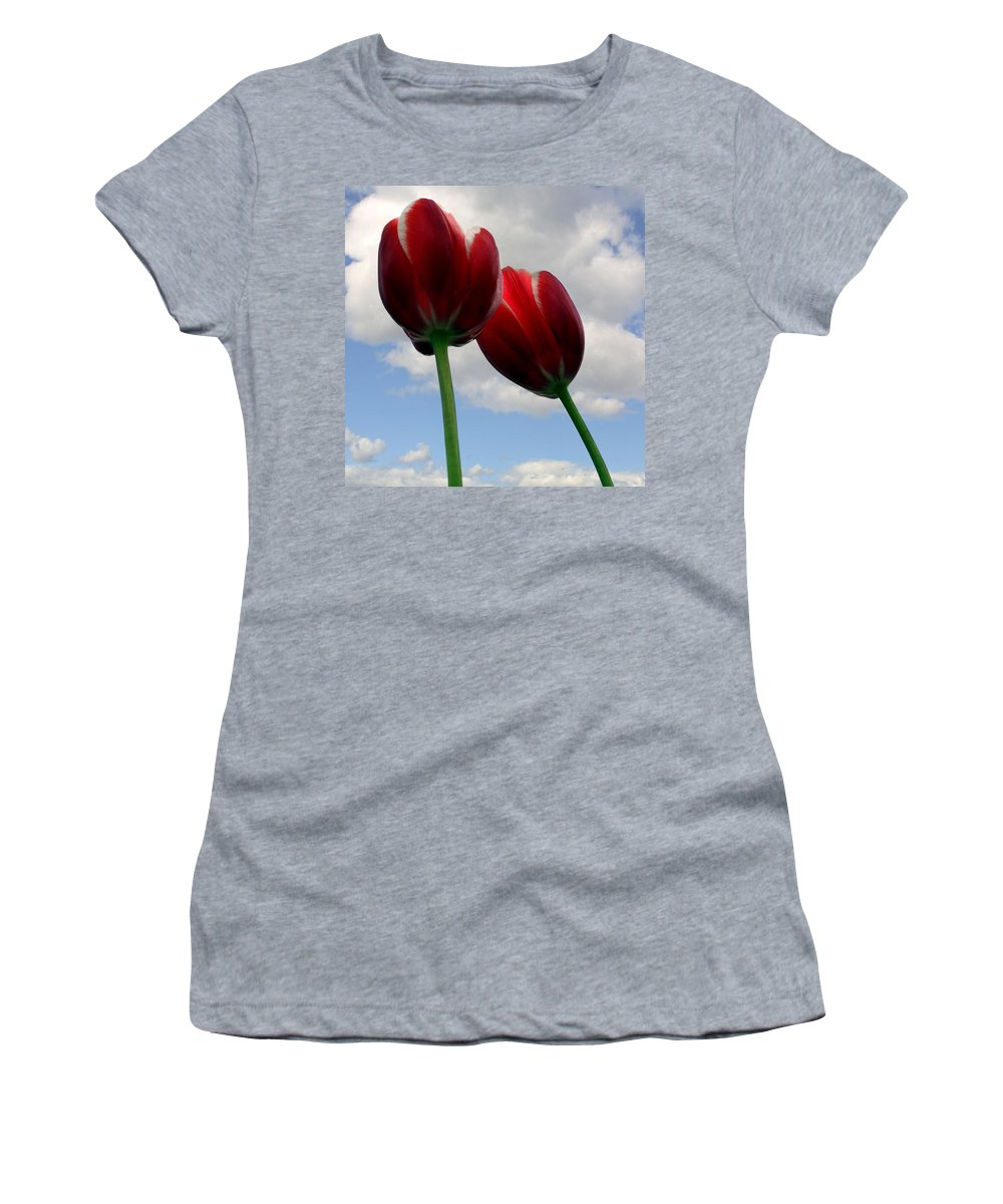 Clouds Women's T-Shirt (Athletic Fit) featuring the photograph Red White And Blue by Michelle Calkins