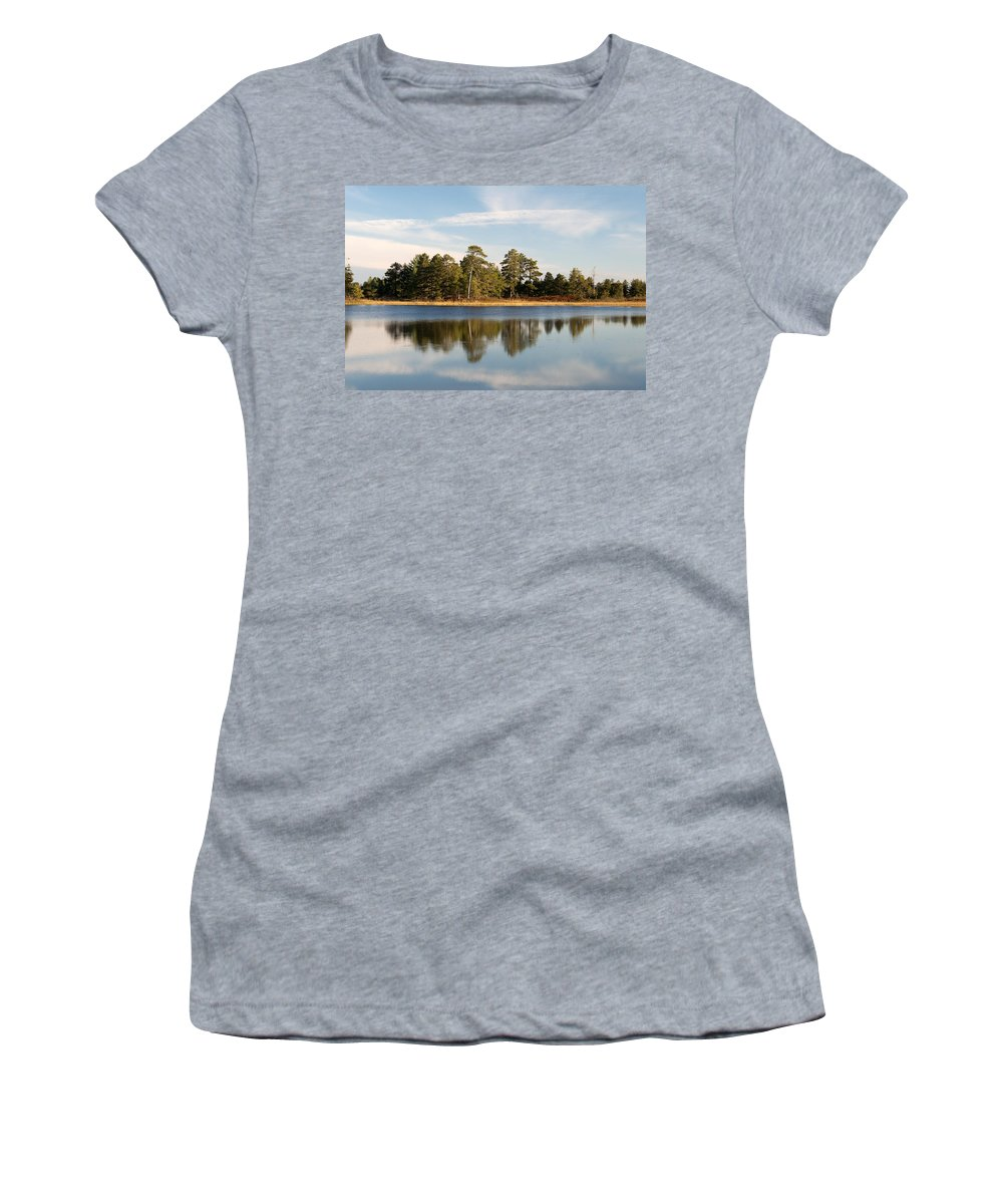 Upper Peninsula Women's T-Shirt (Athletic Fit) featuring the photograph Reflected Clouds by Linda Kerkau