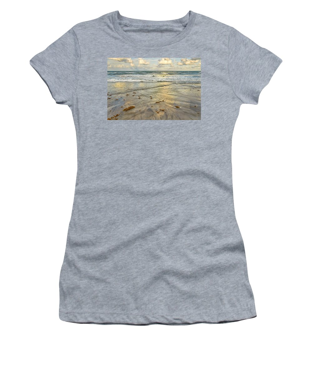 Ocean Women's T-Shirt featuring the photograph Reflections In The Sand by Louise Hill