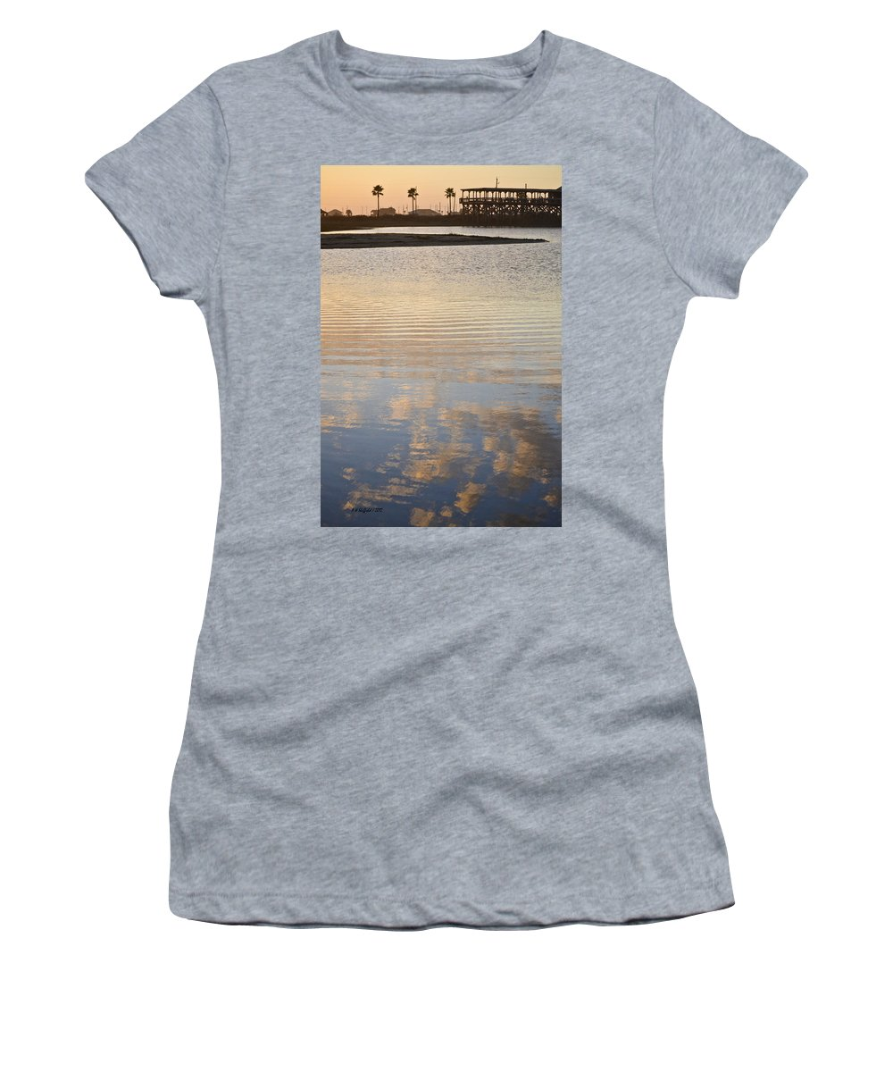 Galveston Women's T-Shirt (Athletic Fit) featuring the photograph Reflections Of Dusk by Allen Sheffield