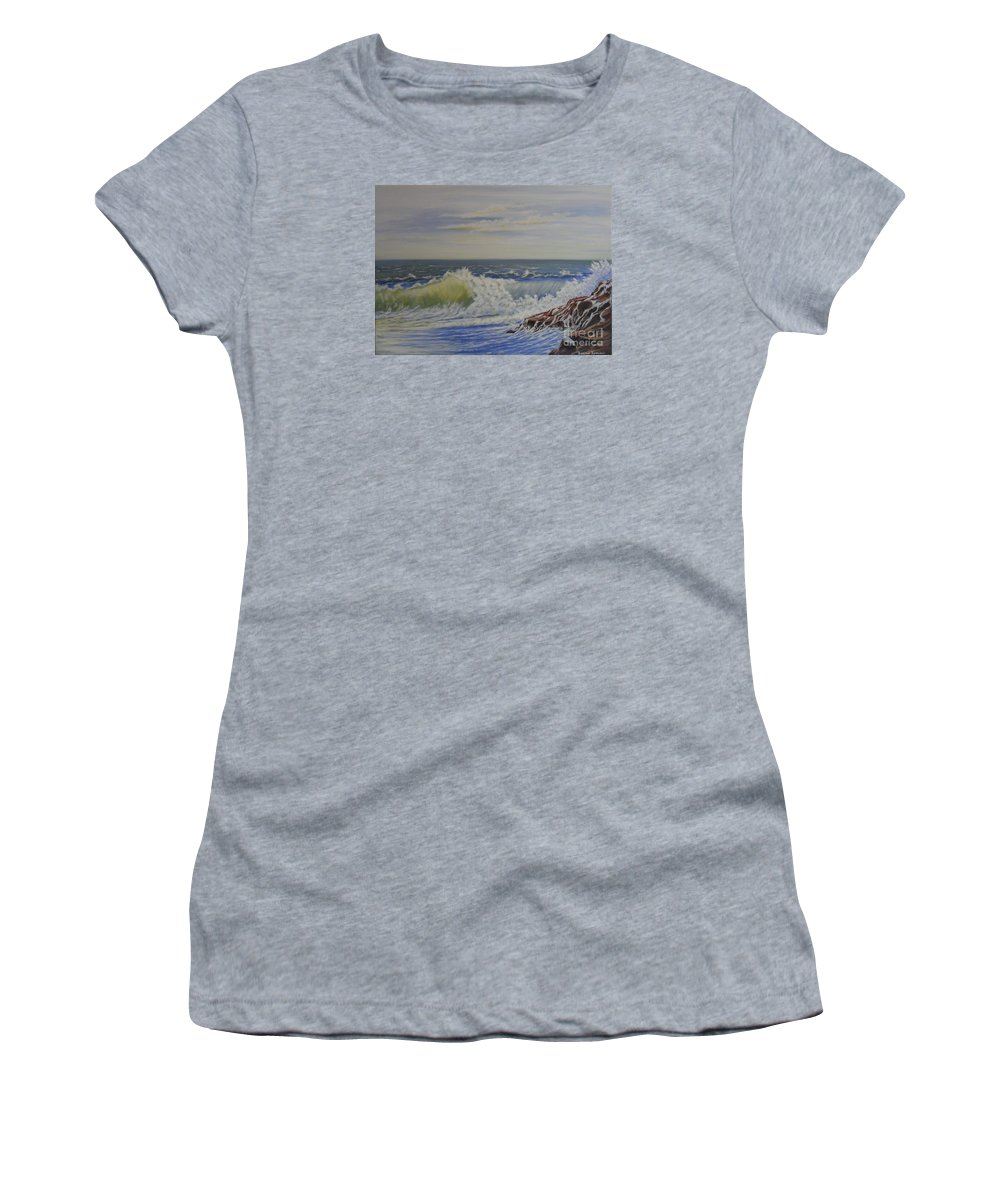Seascape Paintings Women's T-Shirt featuring the painting Relentless Harmony by Brendan Ludlow