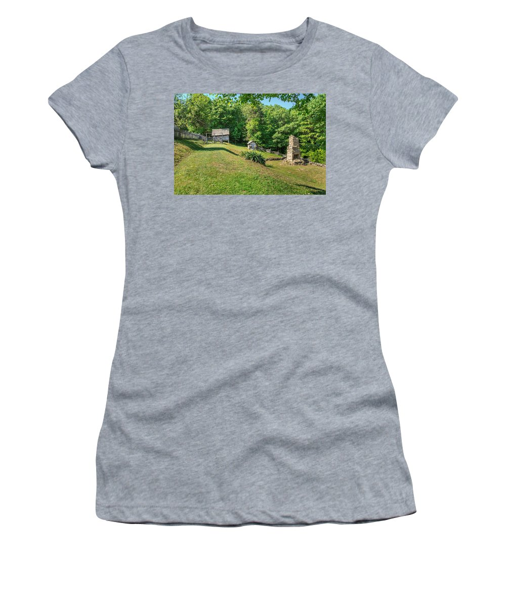 Cumberland Gap National Historical Park Women's T-Shirt (Athletic Fit) featuring the photograph Remains Of Willie Gibbons House by Mary Almond