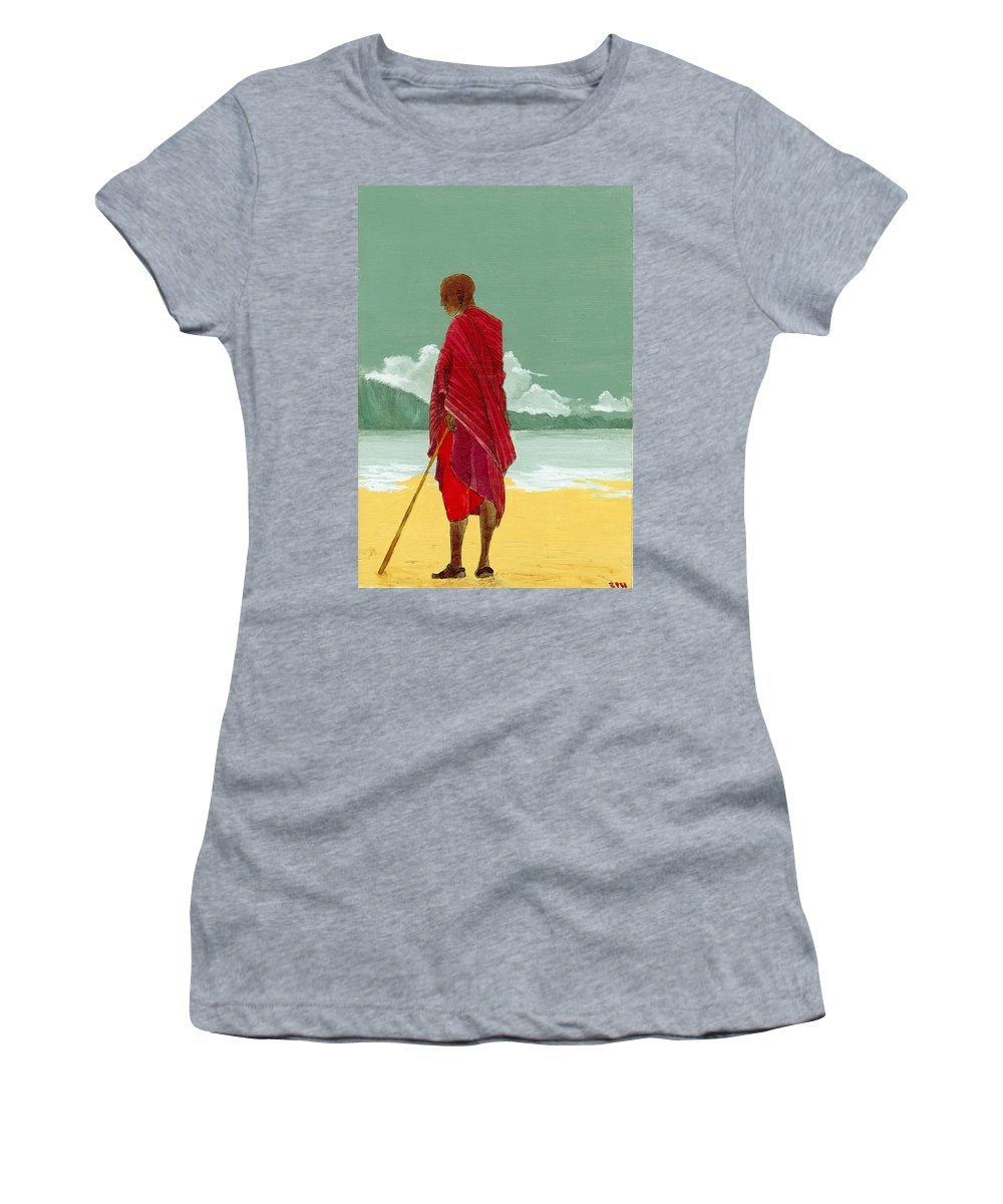 Figurative Painting Women's T-Shirt (Athletic Fit) featuring the painting Reverence by Edith Peterson-Watson
