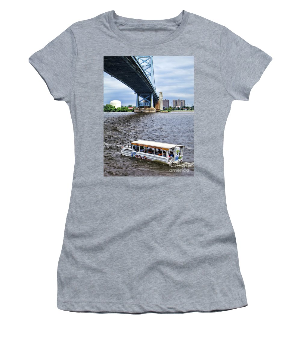 Ride The Ducks Women's T-Shirt (Athletic Fit) featuring the photograph Ride The Ducks by Olivier Le Queinec