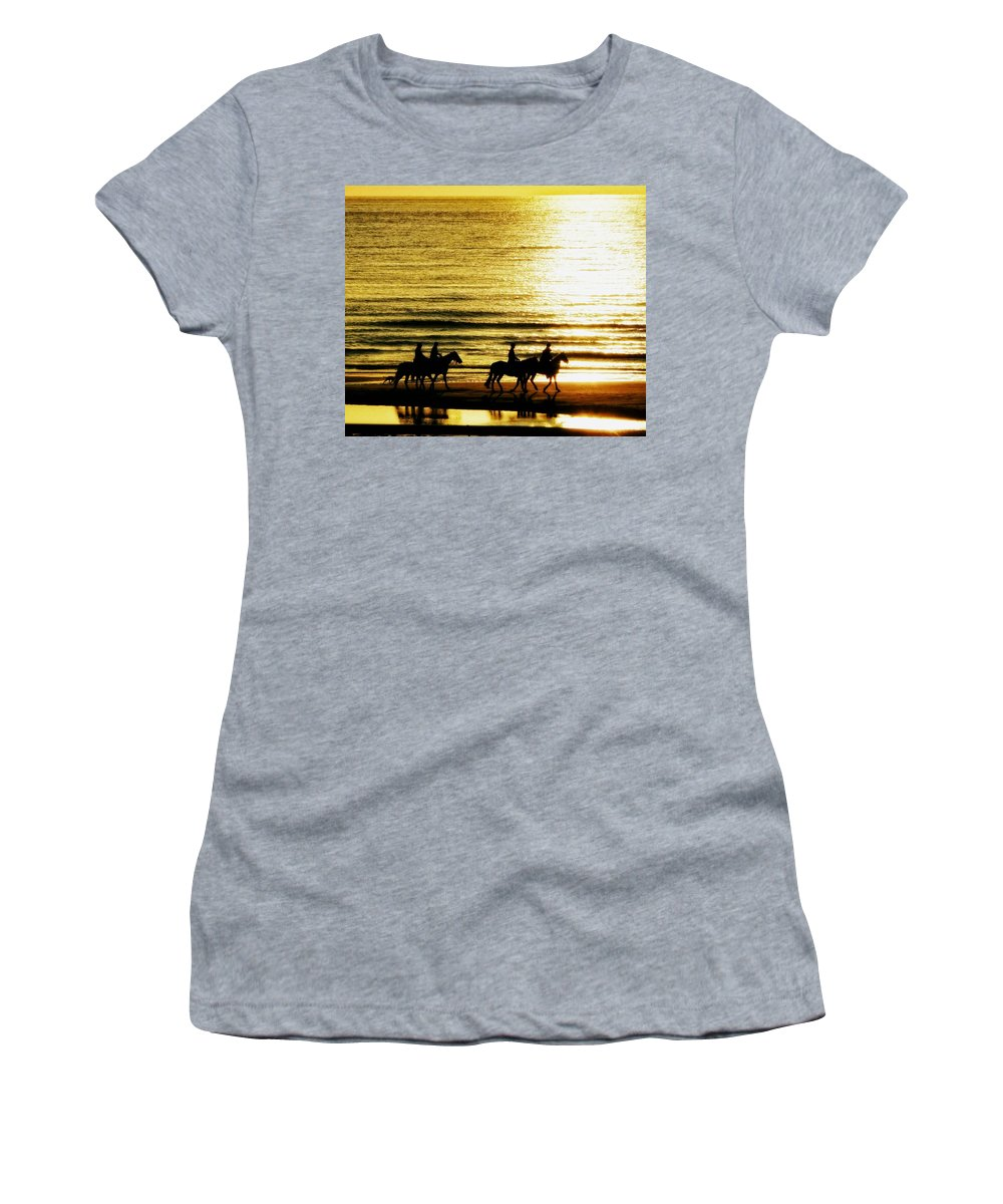 Riders Women's T-Shirt (Athletic Fit) featuring the photograph Rider Silhouettes Against The Sea by Mountain Dreams