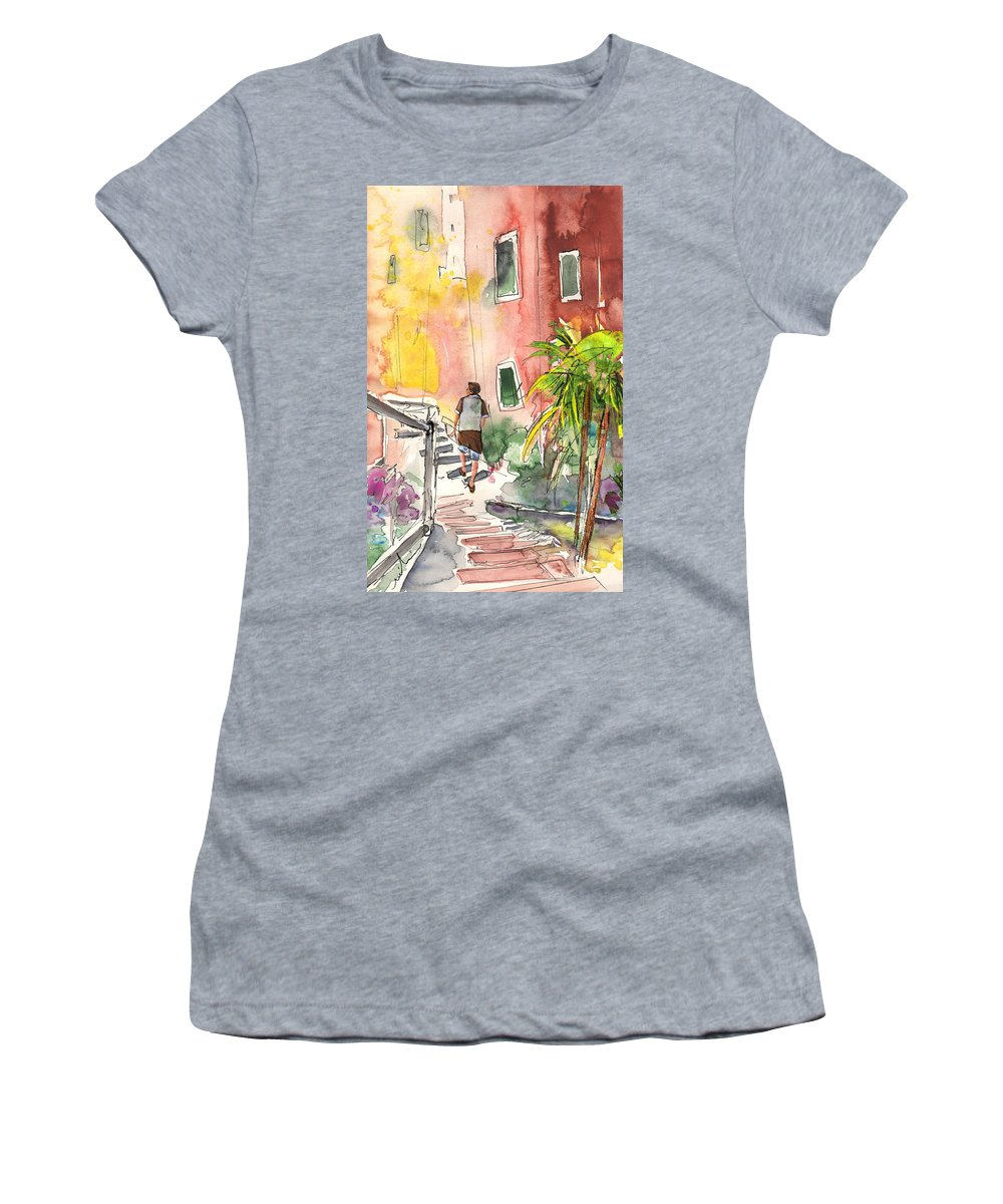 Italy Women's T-Shirt (Athletic Fit) featuring the painting Riomaggiore In Italy 02 by Miki De Goodaboom