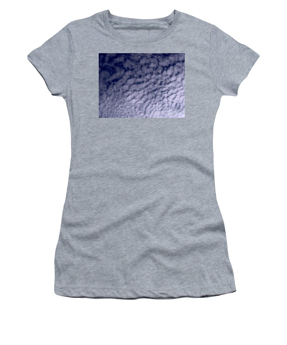 Clouds Women's T-Shirt featuring the photograph Ripples In The Dark Blue Sky by D Hackett