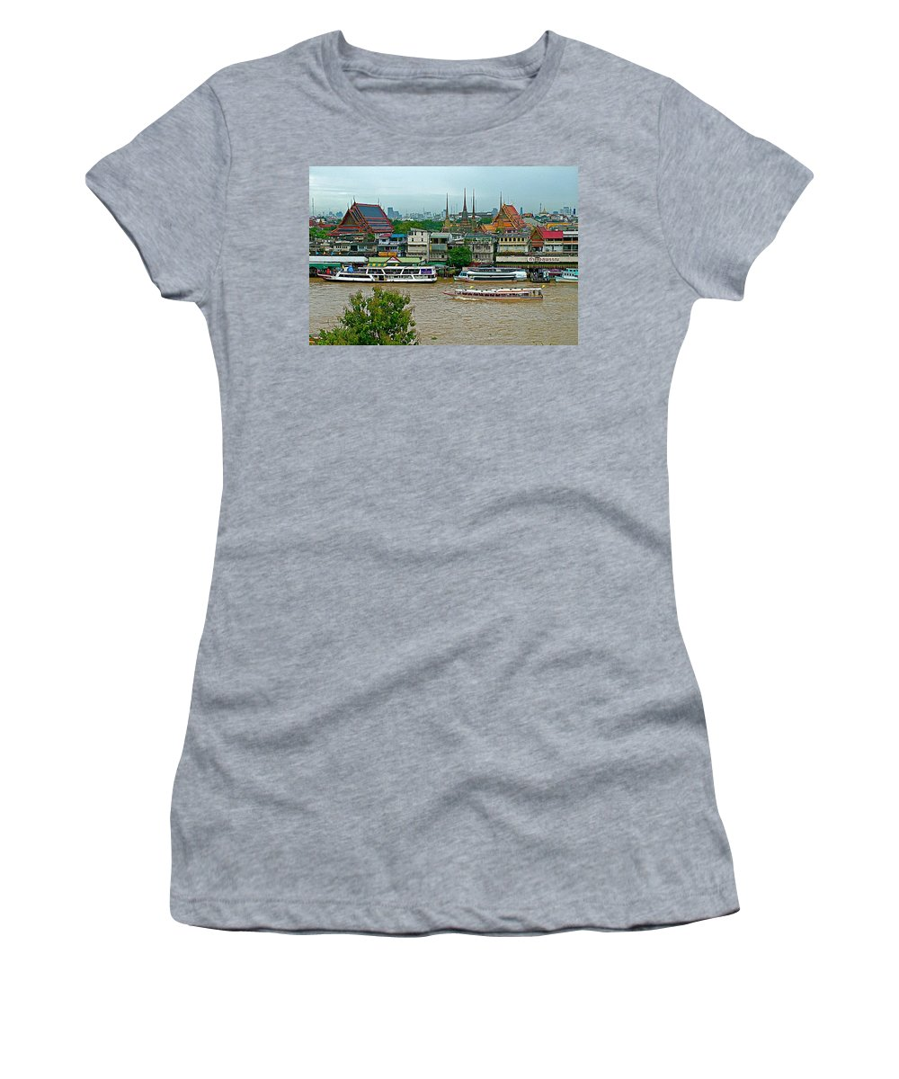 River View From Temple Of The Dawn Women's T-Shirt featuring the photograph River View Fromtemple Of The Dawn/wat Arun In Bangkok-thailand by Ruth Hager