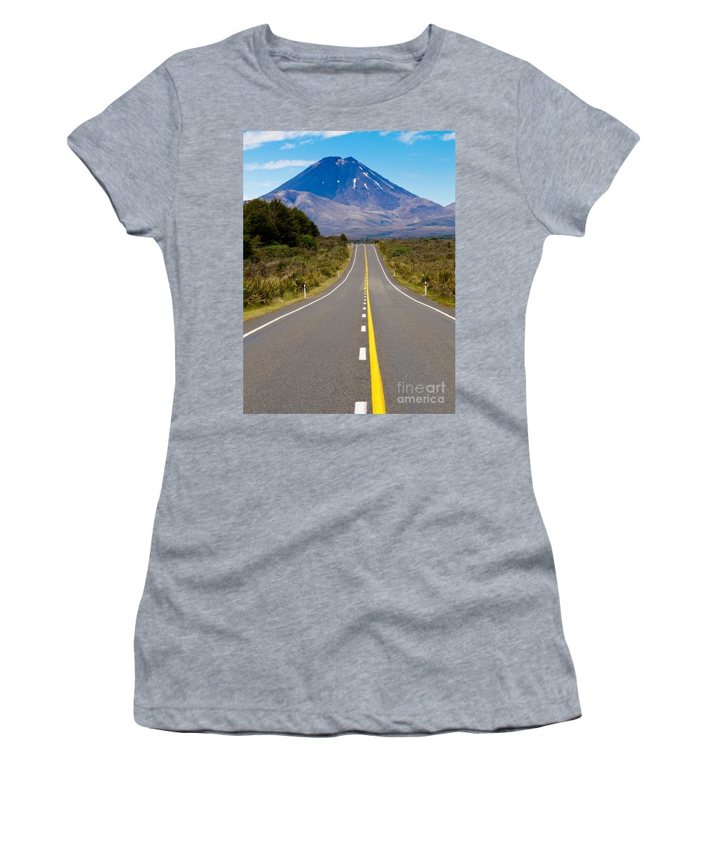Mount Women's T-Shirt (Athletic Fit) featuring the photograph Road Leading To Active Volcanoe Mt Ngauruhoe In Nz by Stephan Pietzko