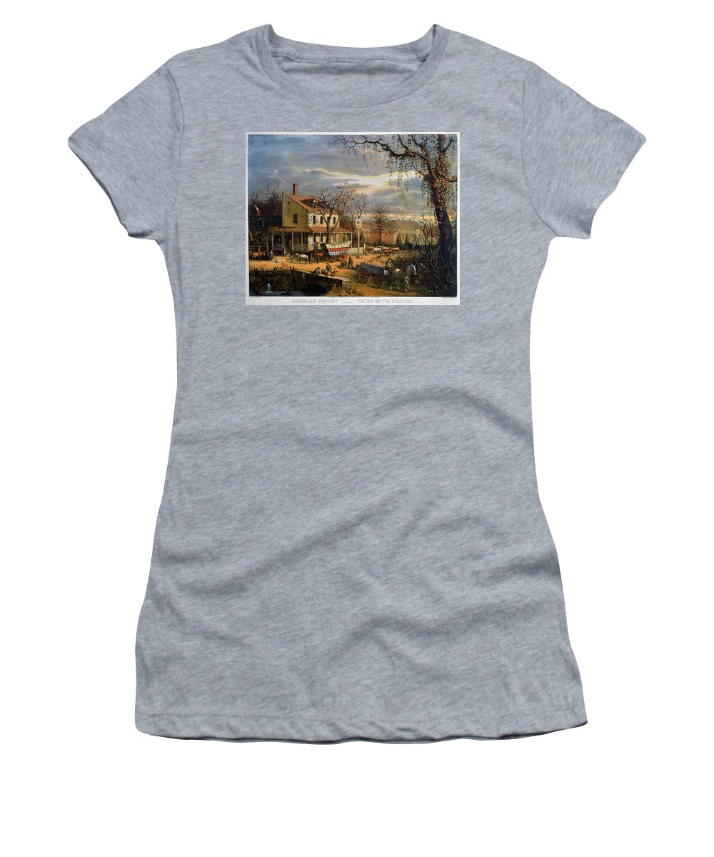 1872 Women's T-Shirt (Athletic Fit) featuring the painting Roadside Inn, 1872 by Granger