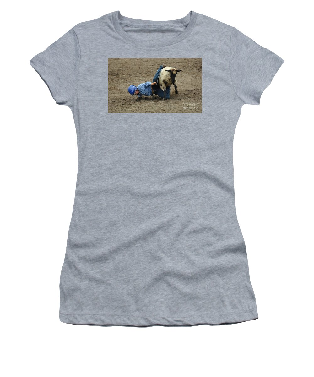 Velcro Women's T-Shirt featuring the photograph Rodeo Velcro Rider 3 by Bob Christopher