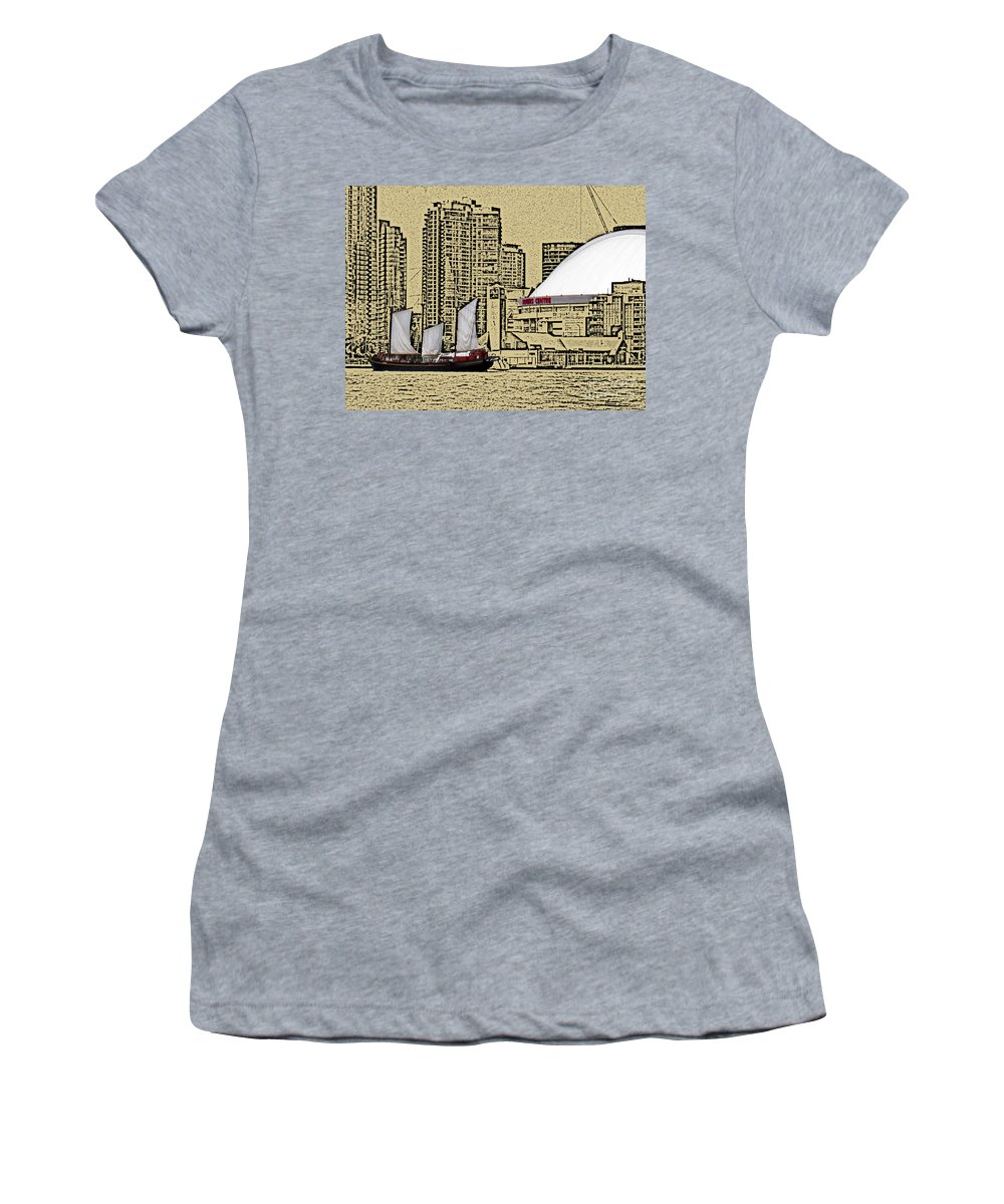 Toronto Women's T-Shirt featuring the photograph Roger's Centre And Tall Ship by Nina Silver