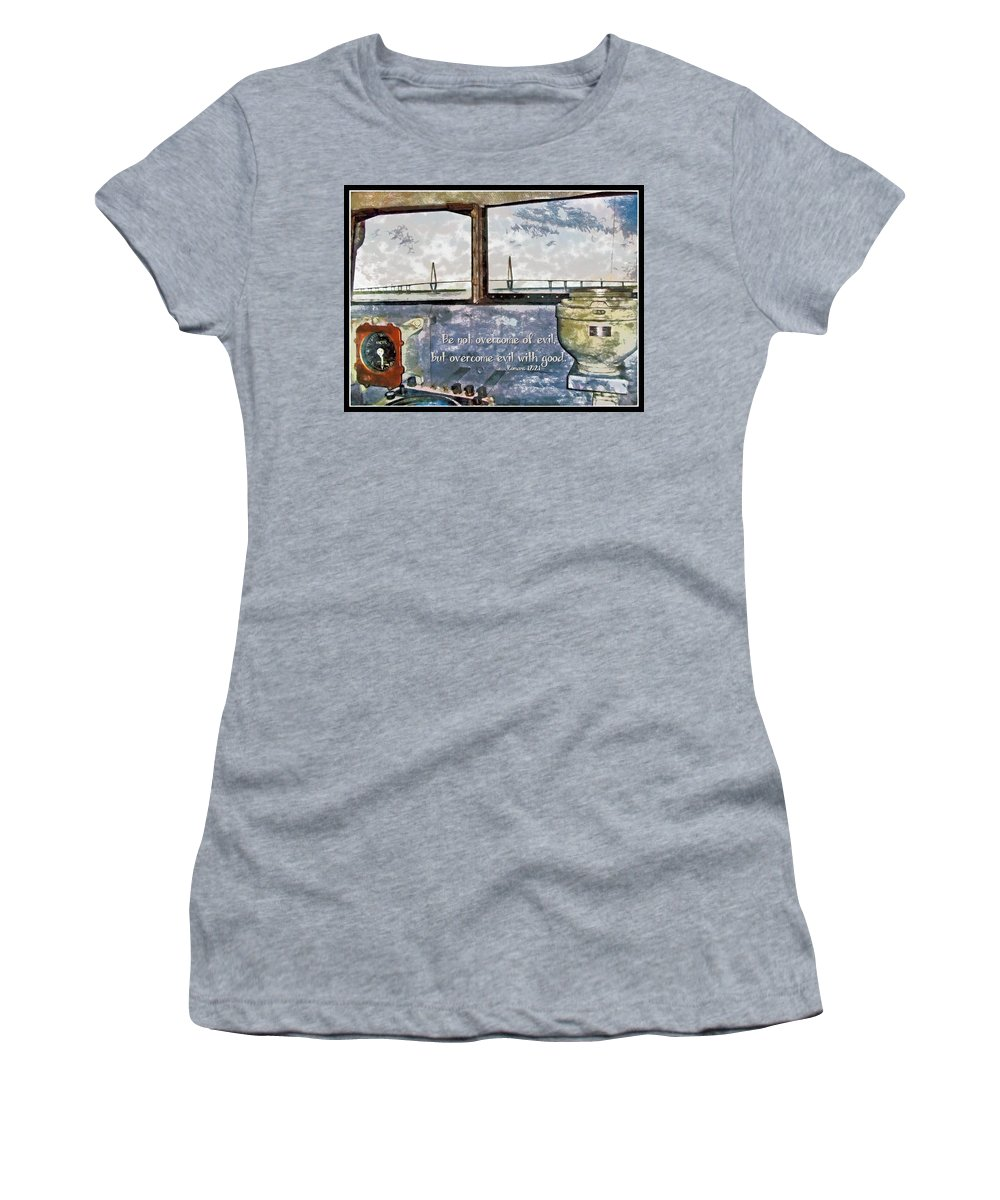 Jesus Women's T-Shirt featuring the digital art Romans 12 21 by Michelle Greene Wheeler