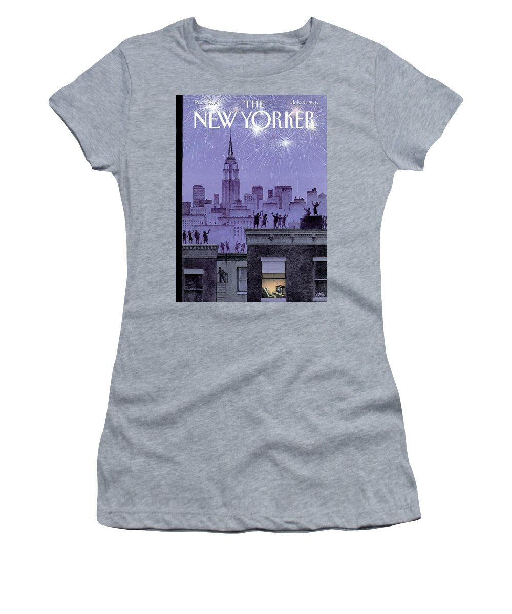 Harry Bliss Hbl Women's T-Shirt featuring the painting Rooftop Revelers Celebrate New Year's Eve by Harry Bliss