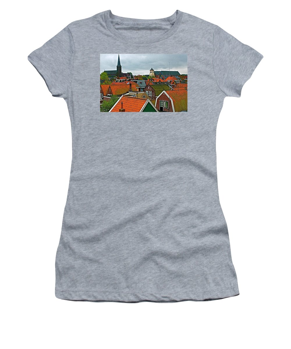 Rooftops From Our Host's Apartment In Enkhuizen Women's T-Shirt featuring the photograph Rooftops From Our Host's Apartment In Enkhuizen-netherlands by Ruth Hager