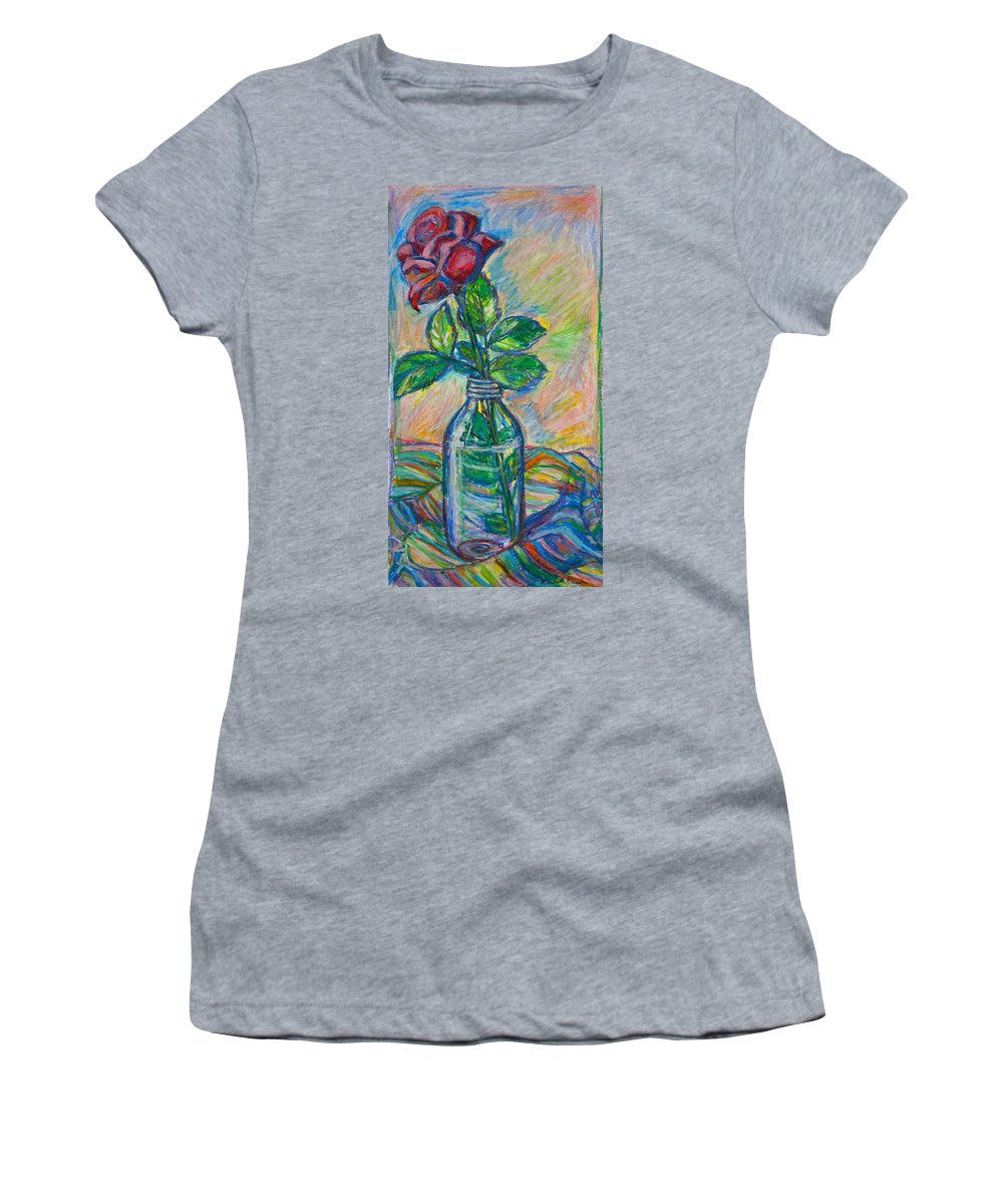 Still Life Women's T-Shirt (Athletic Fit) featuring the painting Rose In A Bottle by Kendall Kessler