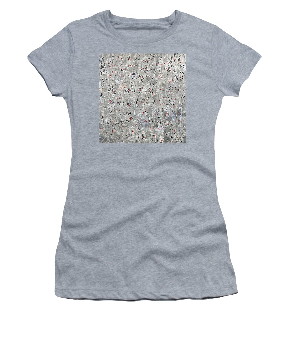 Charcoal Women's T-Shirt featuring the painting Rubies And Charcoal by Sumit Mehndiratta