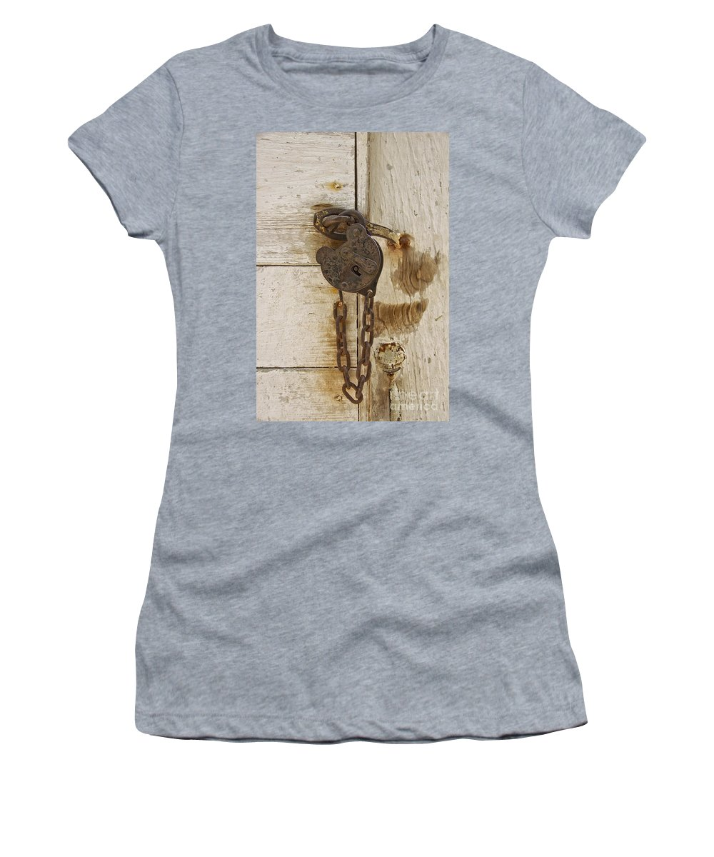 Door Women's T-Shirt featuring the photograph Rusted Lock by Margie Hurwich
