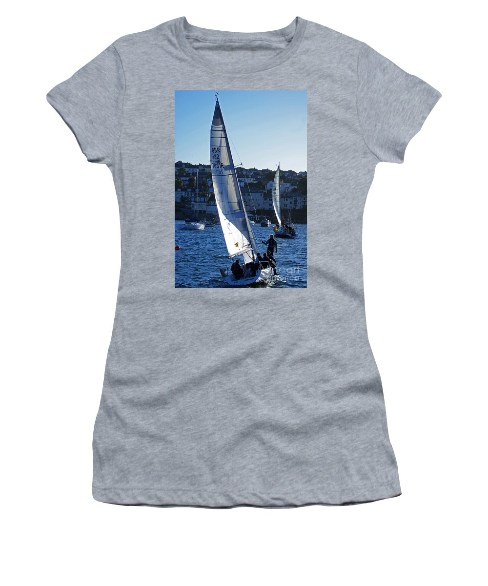 Sail Boat Women's T-Shirt (Athletic Fit) featuring the photograph sail boat Penryn river Spring 2010 six by Simon Kennedy