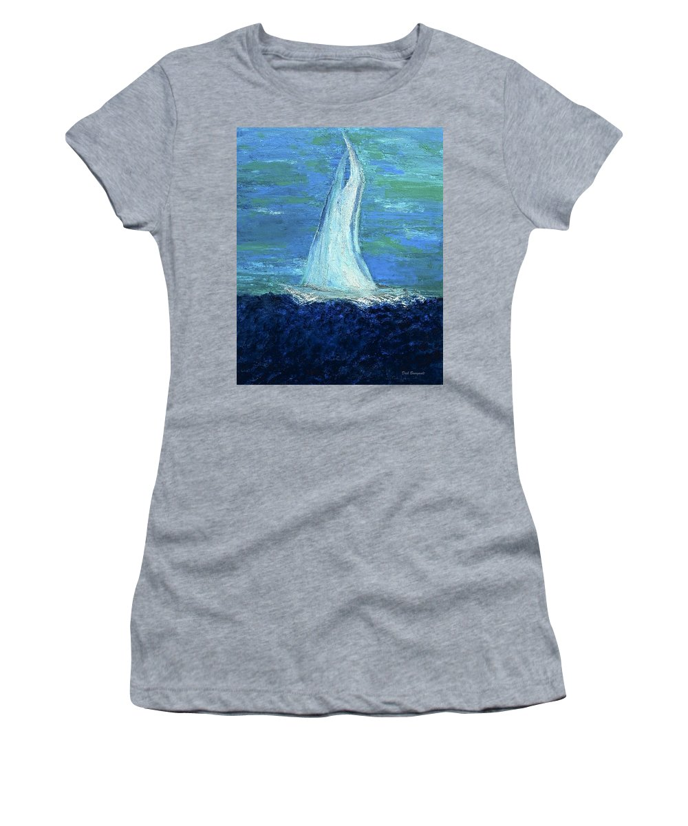 Sailing Women's T-Shirt (Athletic Fit) featuring the painting Sailing On The Blue by Dick Bourgault