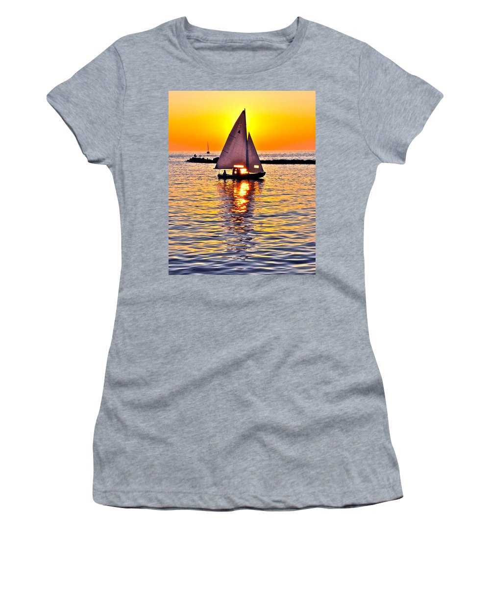 Sail Women's T-Shirt featuring the photograph Sailing The Seven Seas by Frozen in Time Fine Art Photography