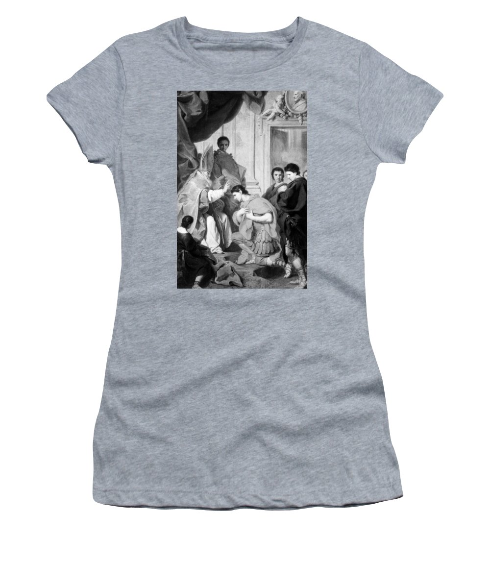 4th Century Women's T-Shirt (Athletic Fit) featuring the painting Saint Ambrose (339-397) by Granger