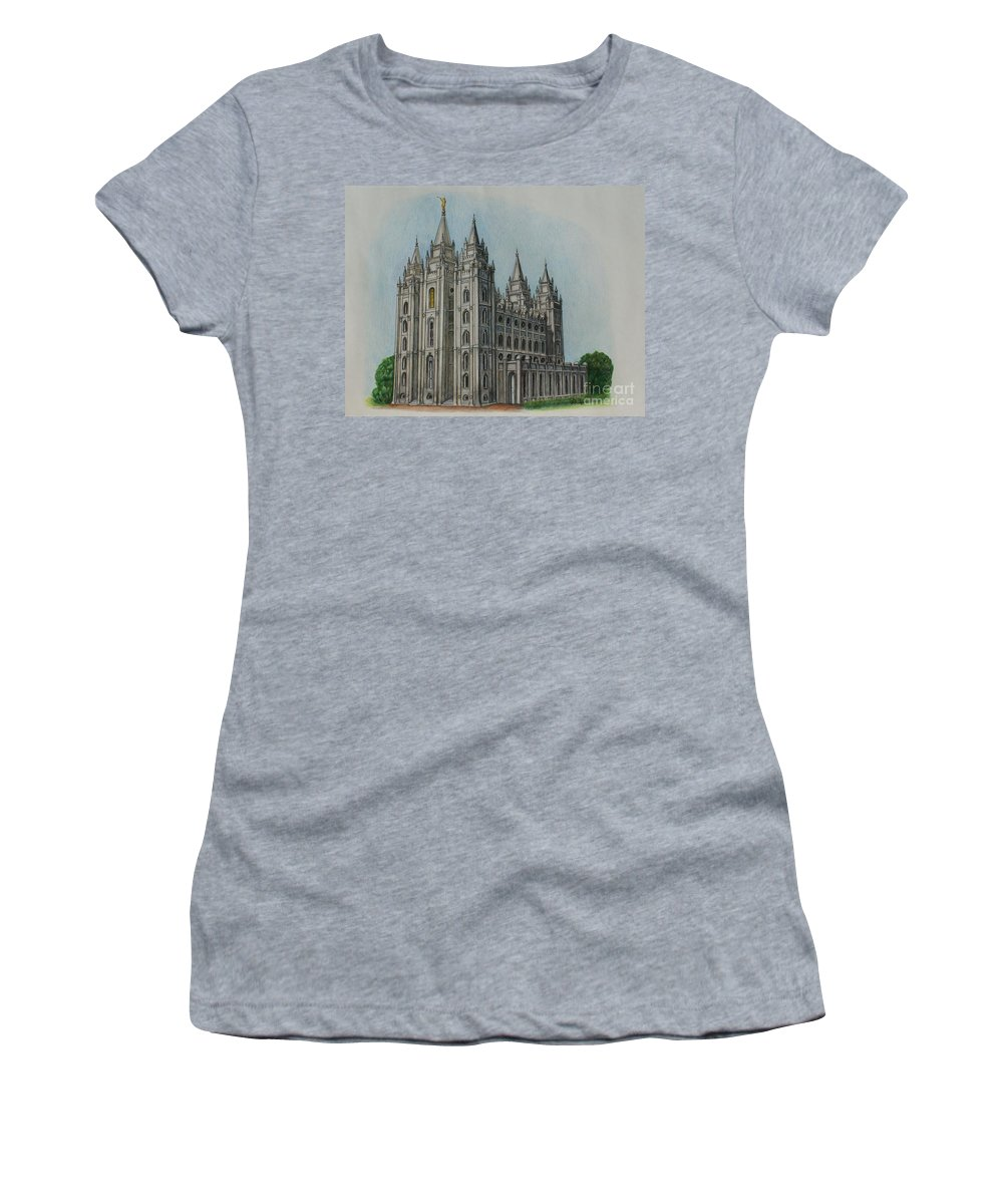 Lds Women's T-Shirt featuring the drawing Salt Lake City Temple I by Christine Jepsen