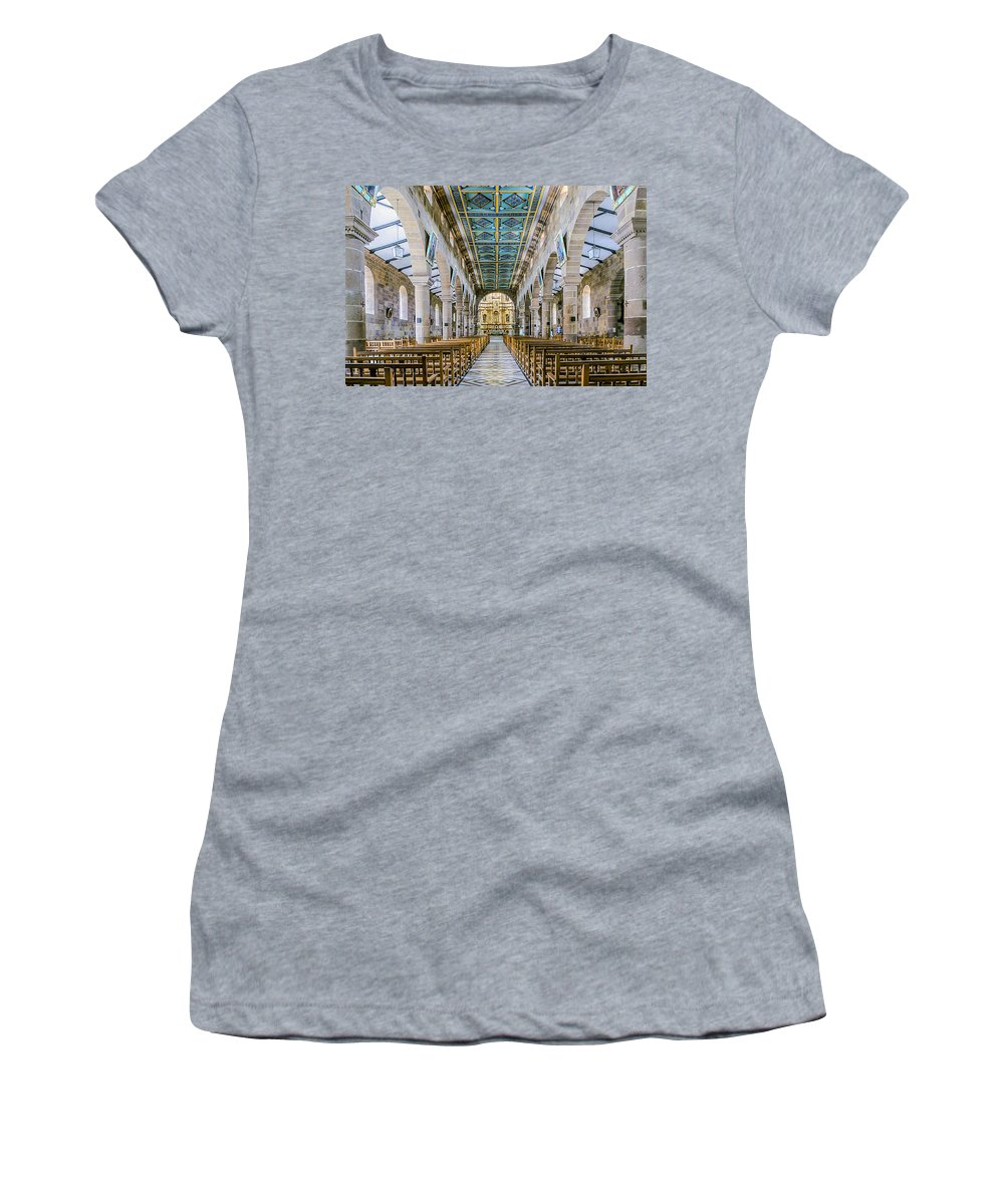 Aisle Women's T-Shirt featuring the photograph San Gil Cathedral by Maria Coulson