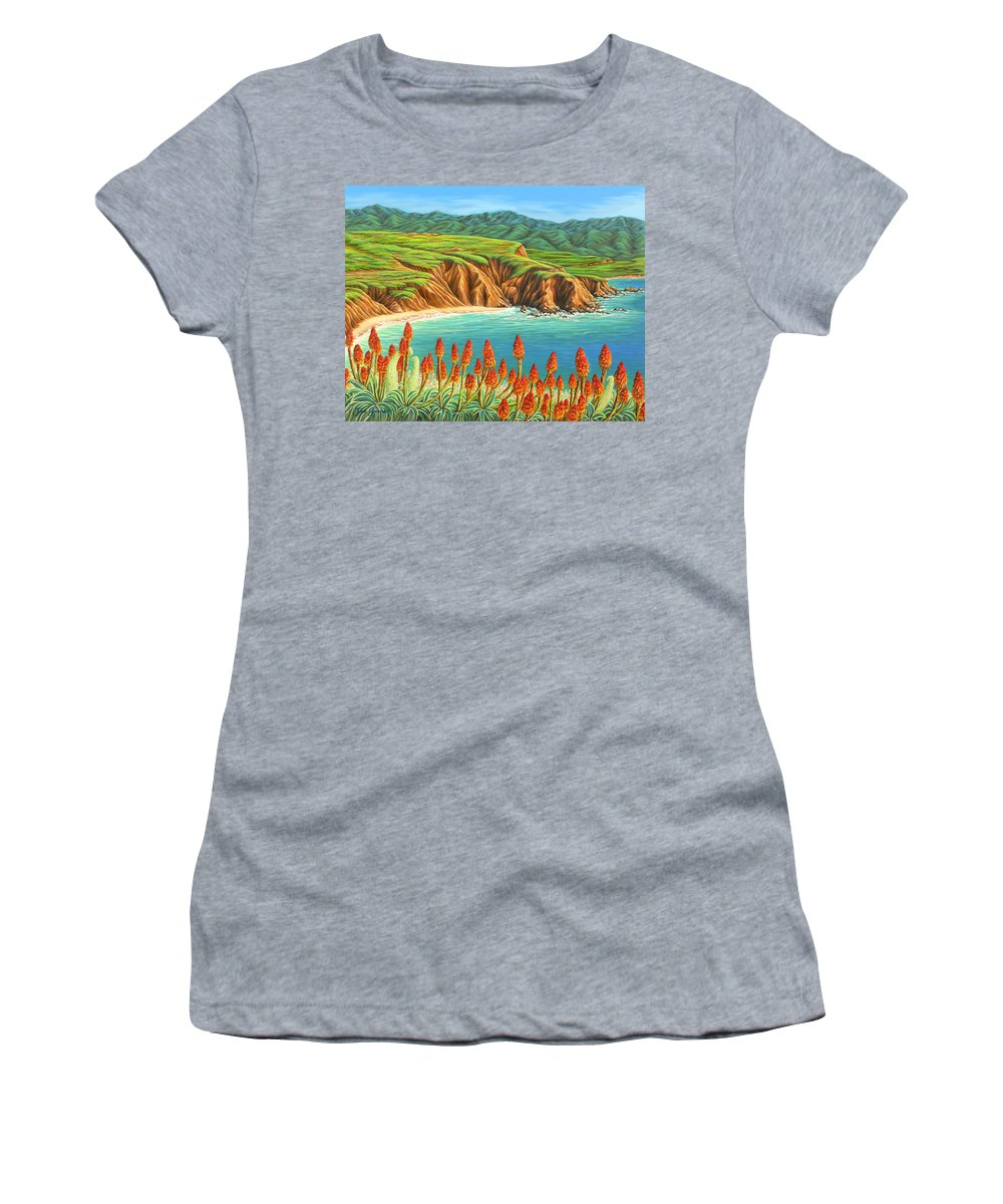 Ocean Women's T-Shirt (Athletic Fit) featuring the painting San Mateo Springtime by Jane Girardot
